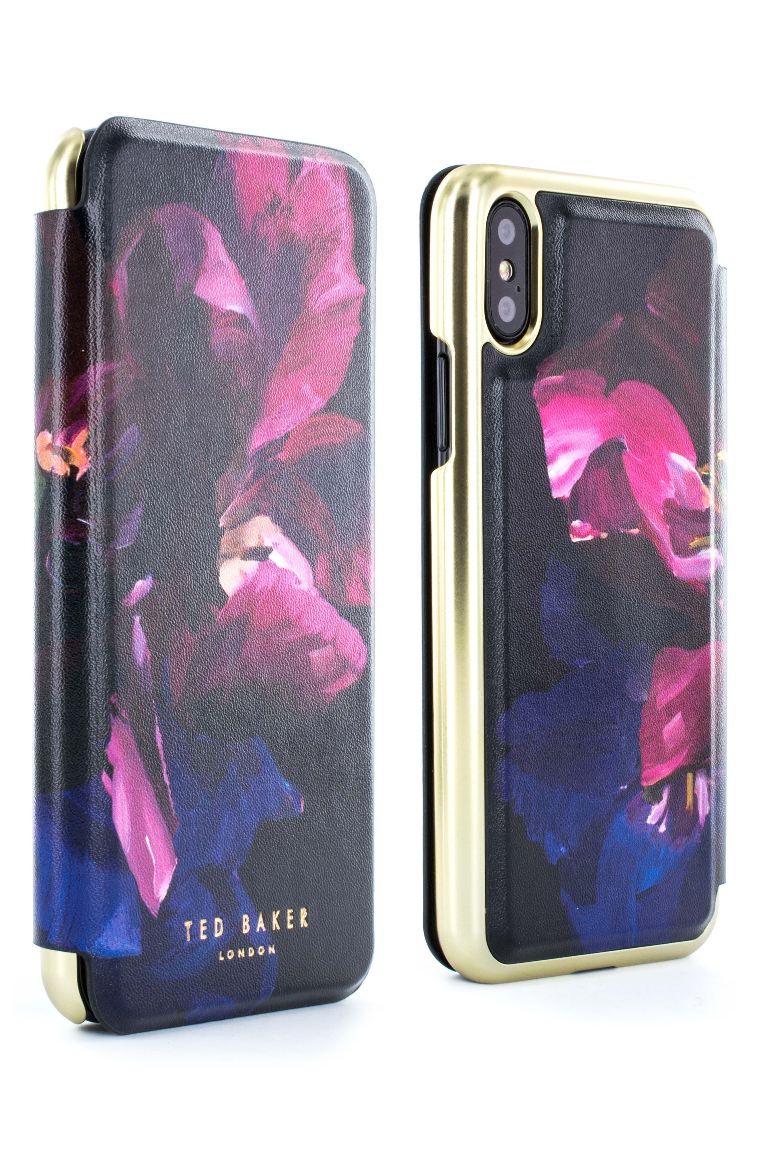Impressionist Bloom iPhone X Mirror Folio Case,                             Alternate thumbnail 4, color,                             Impressionist Bloom