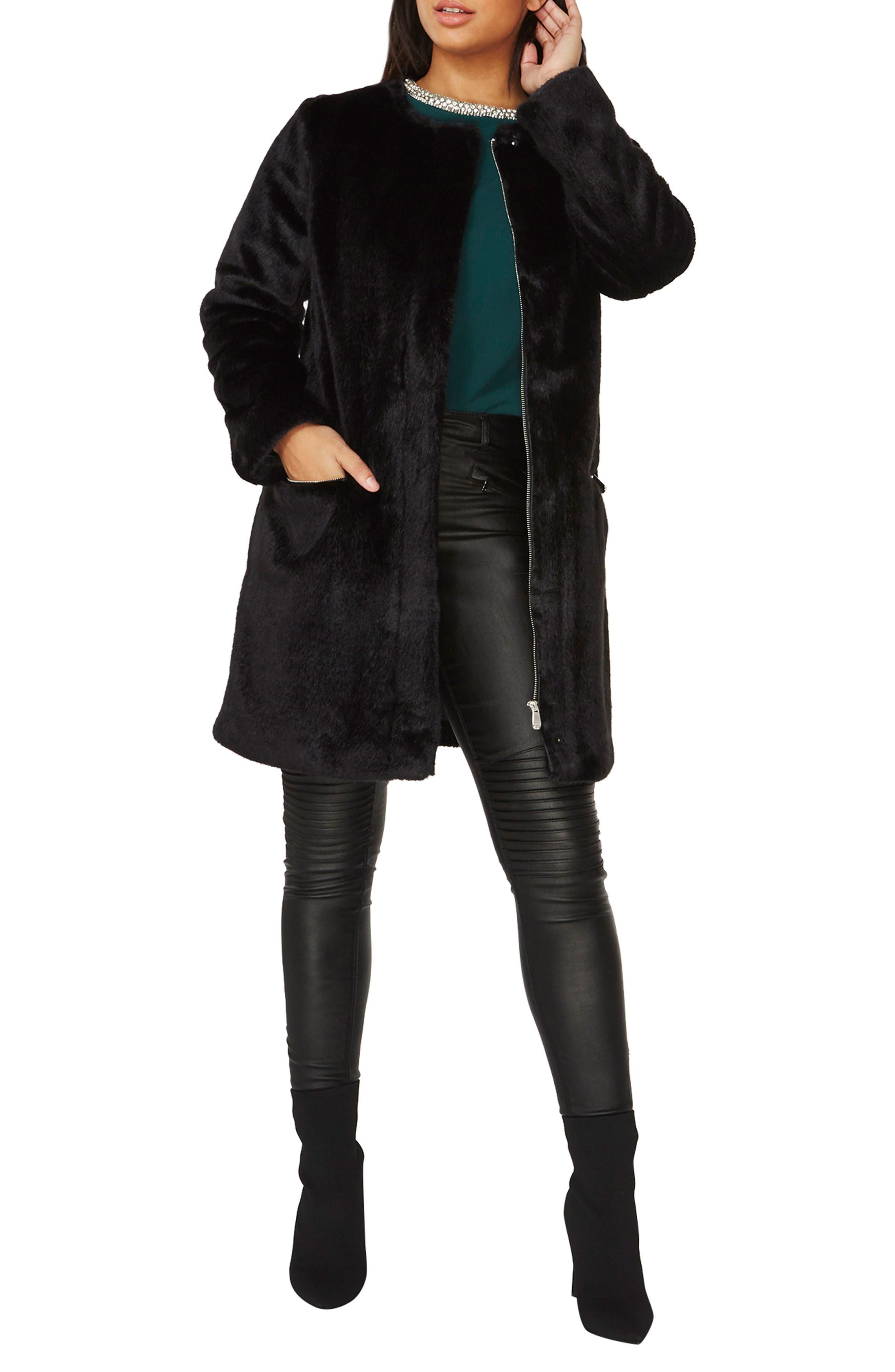 Faux Fur Coat,                             Alternate thumbnail 4, color,                             Black