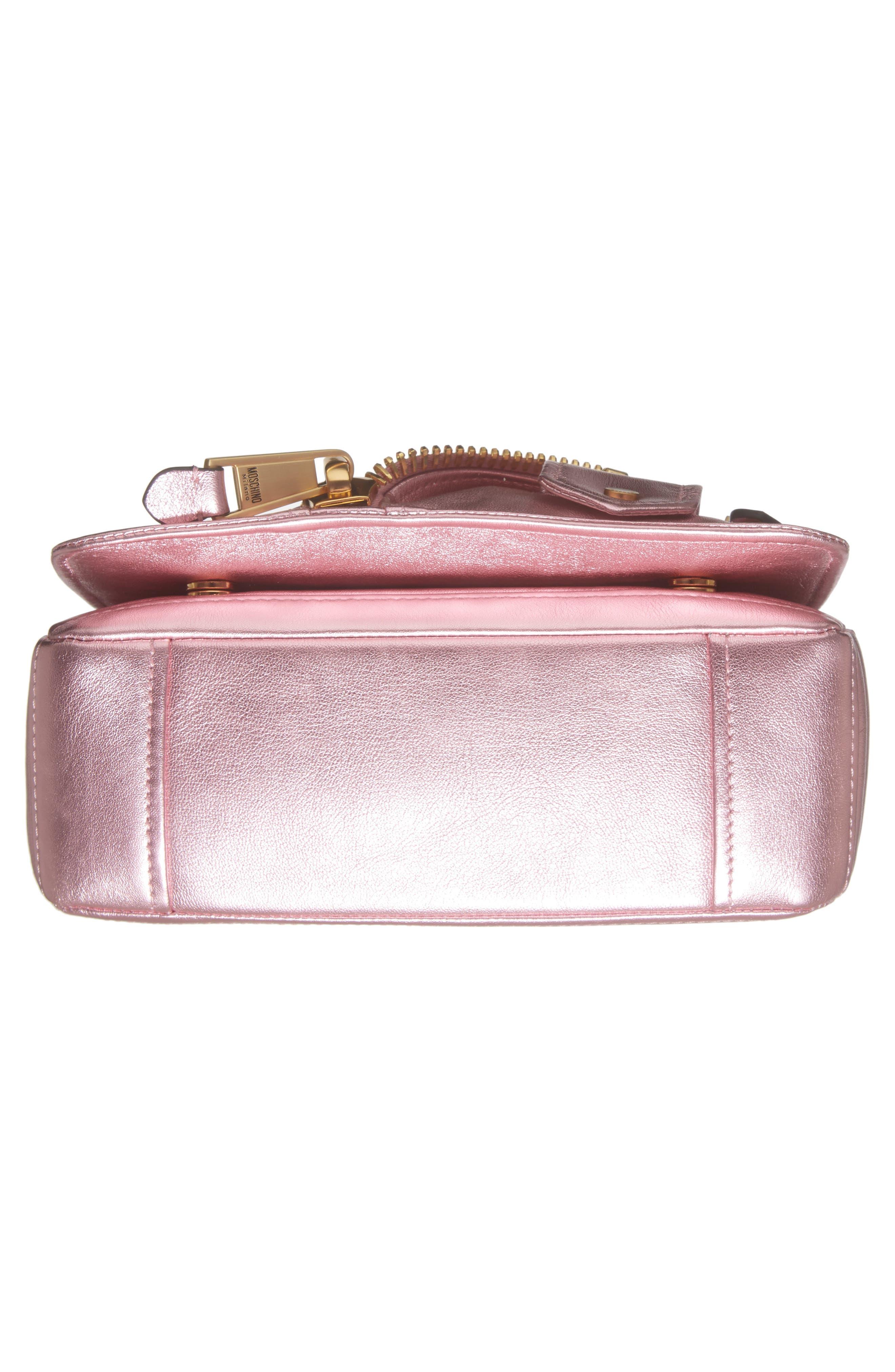 x My Little Pony Biker Jacket Metallic Leather Crossbody Bag,                             Alternate thumbnail 6, color,                             Pink