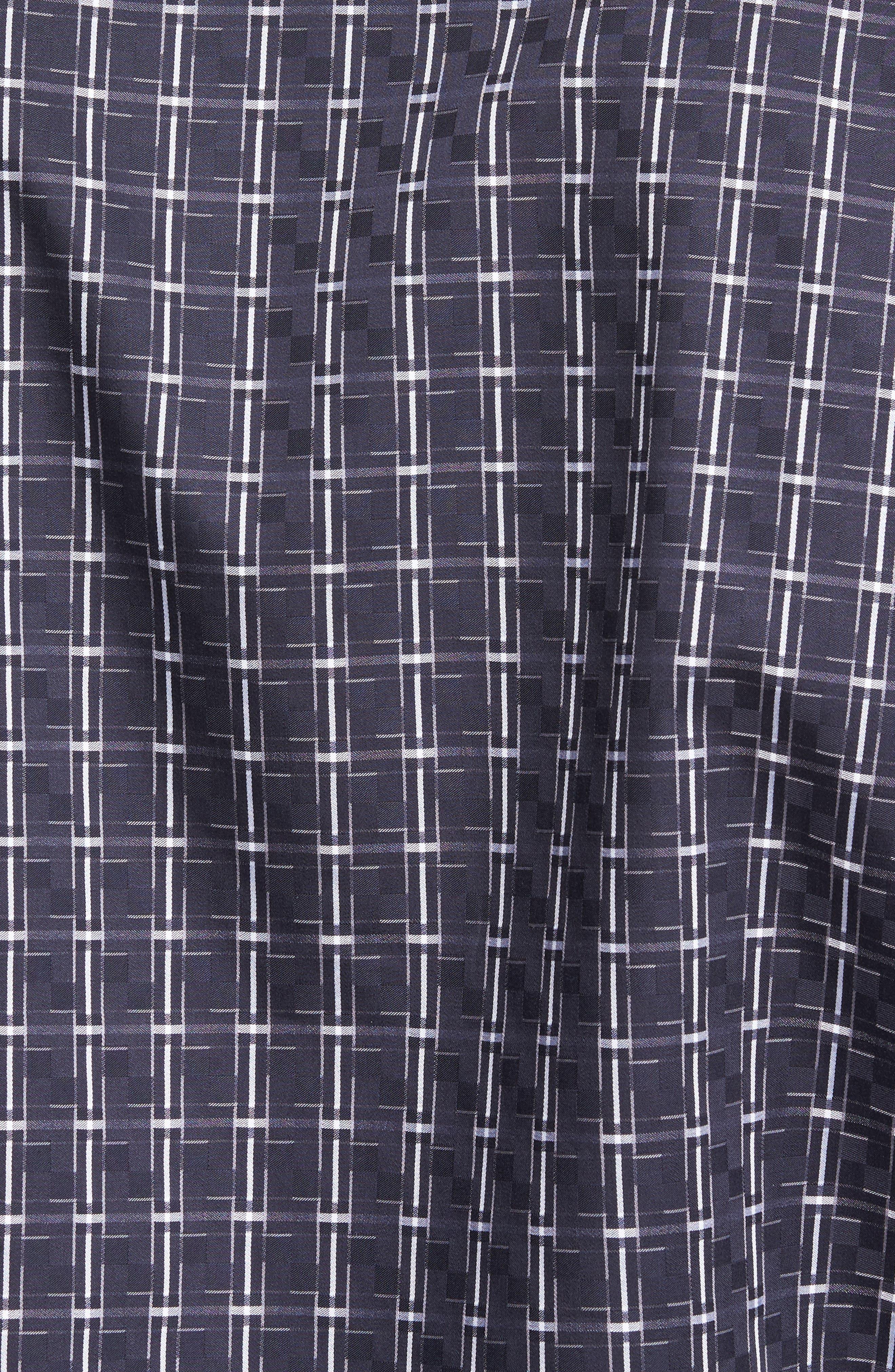 Shaped Fit Plaid Sport Shirt,                             Alternate thumbnail 5, color,                             Black