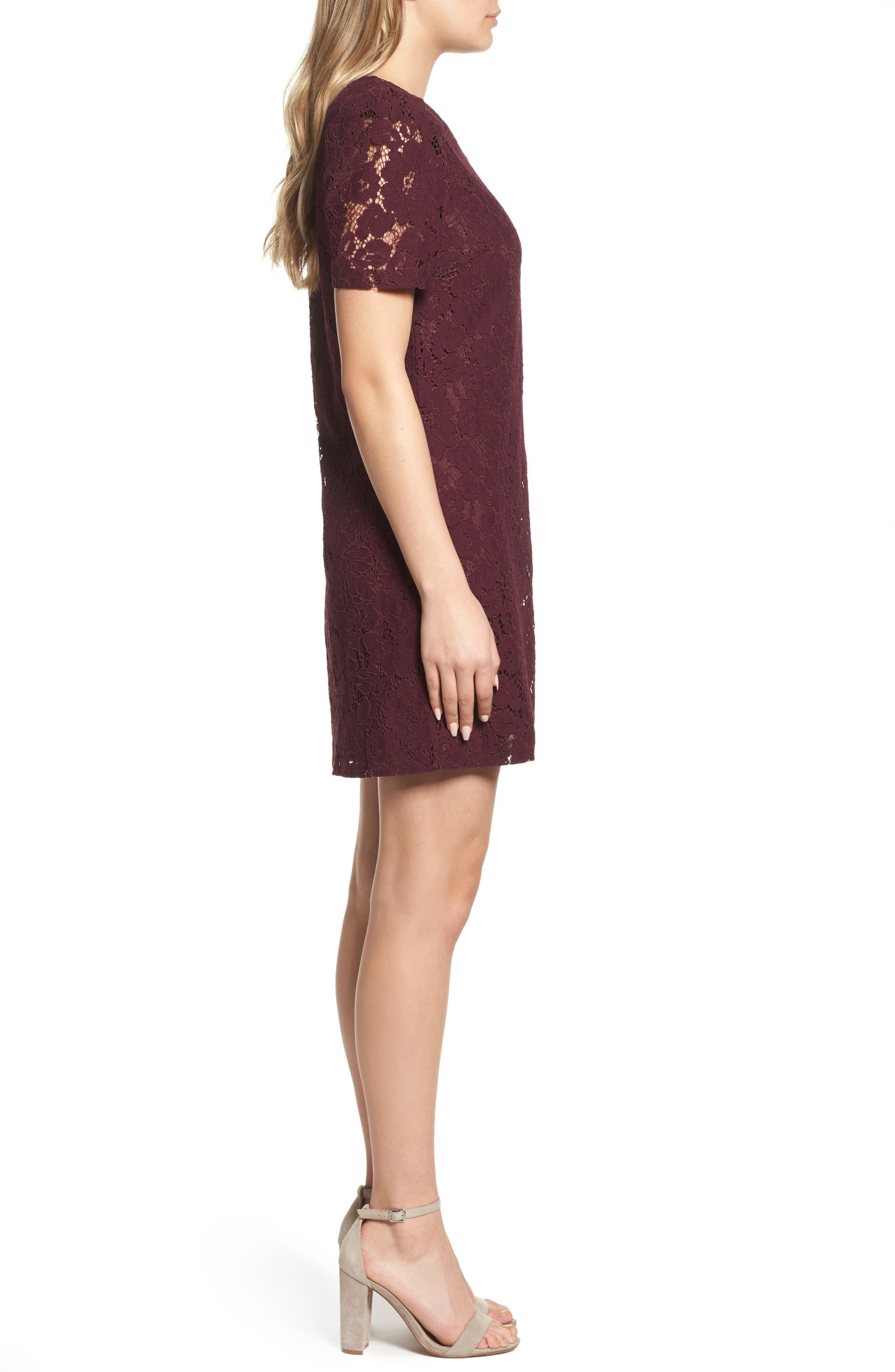 Lace Shift Dress,                             Alternate thumbnail 3, color,                             Merlot