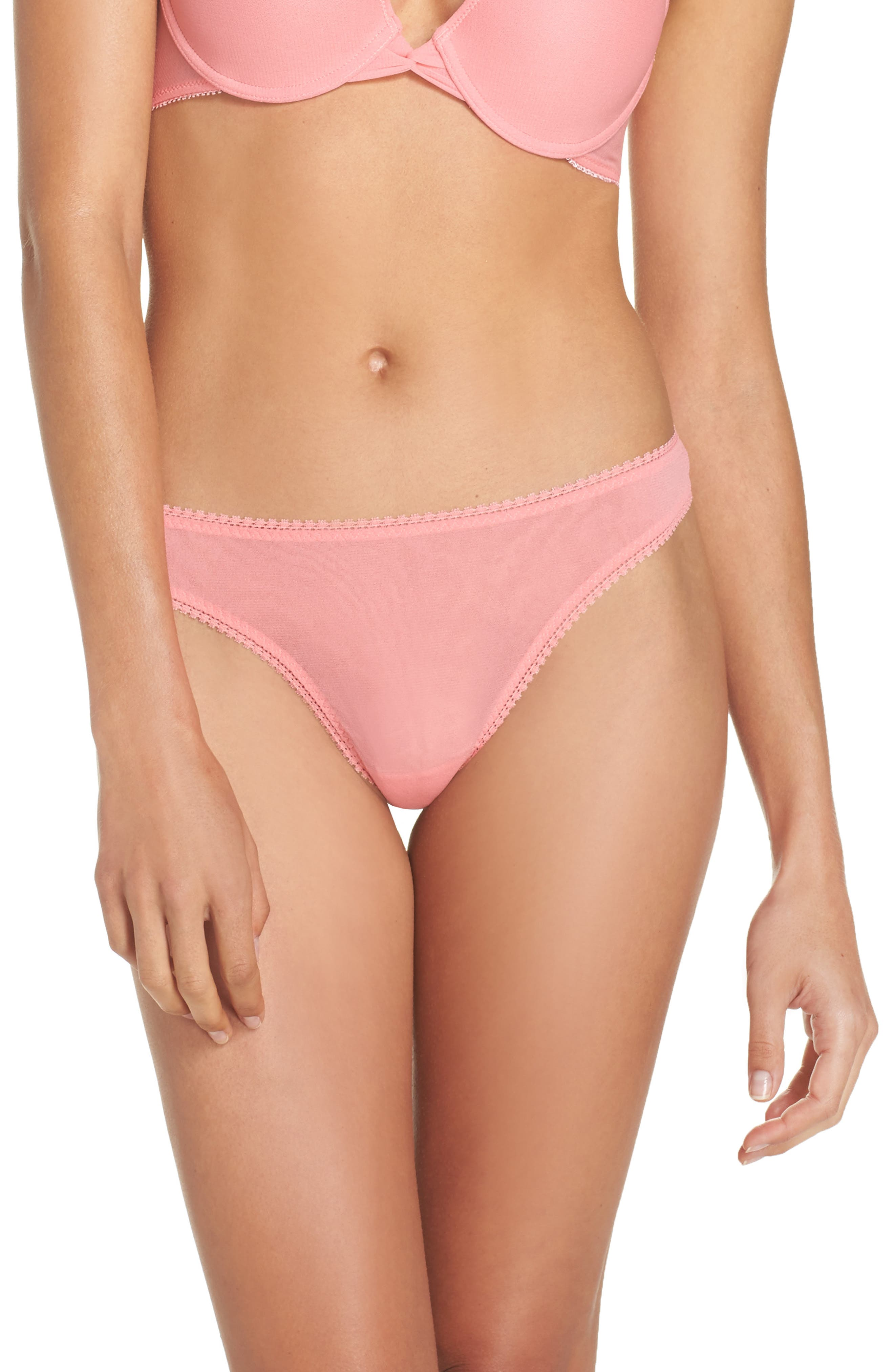 'Hip-G' Mesh Thong,                         Main,                         color, Strawberry