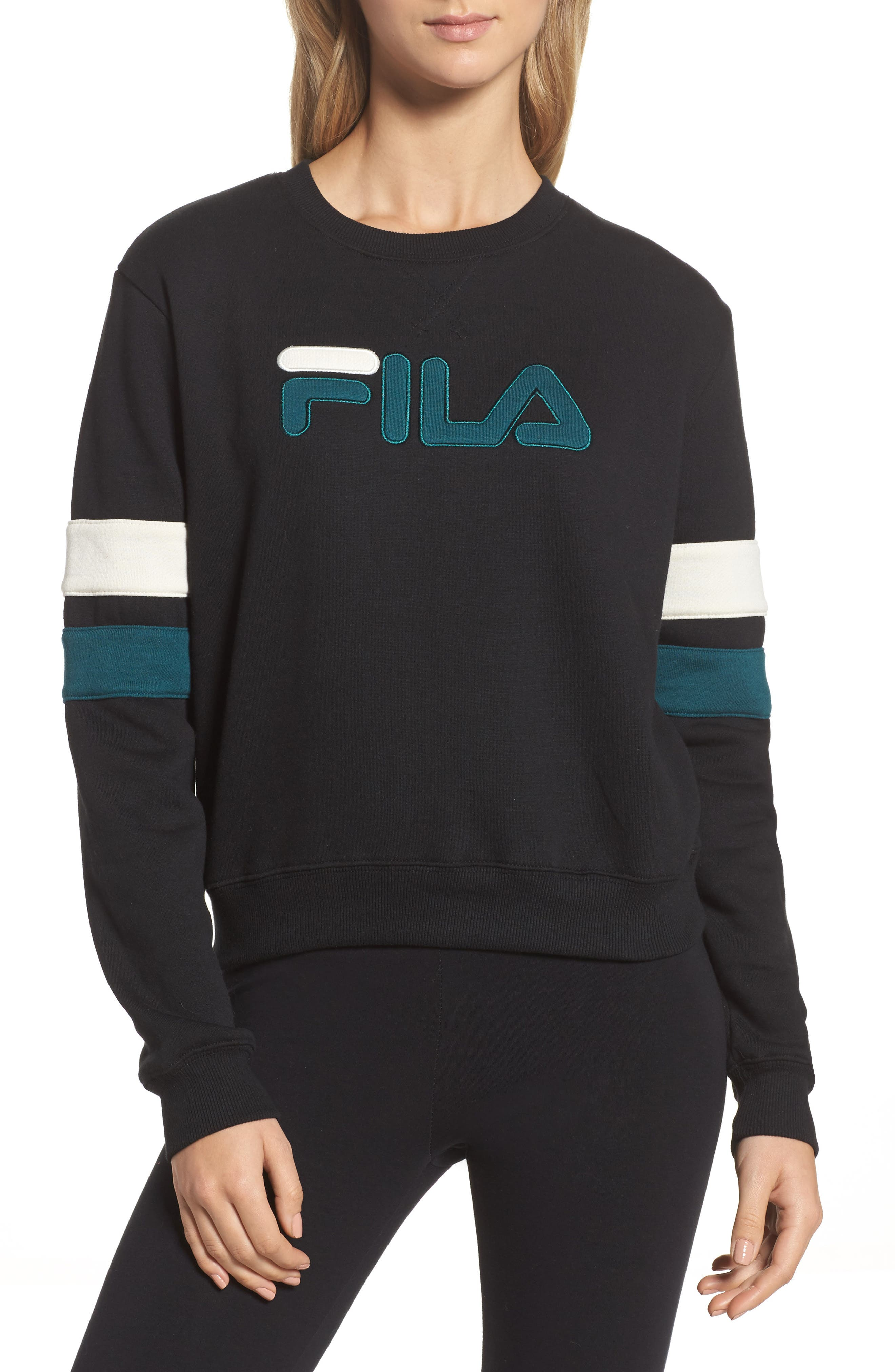 Newton Sweatshirt,                             Main thumbnail 1, color,                             Black/ Deep Teal/ Gardenia