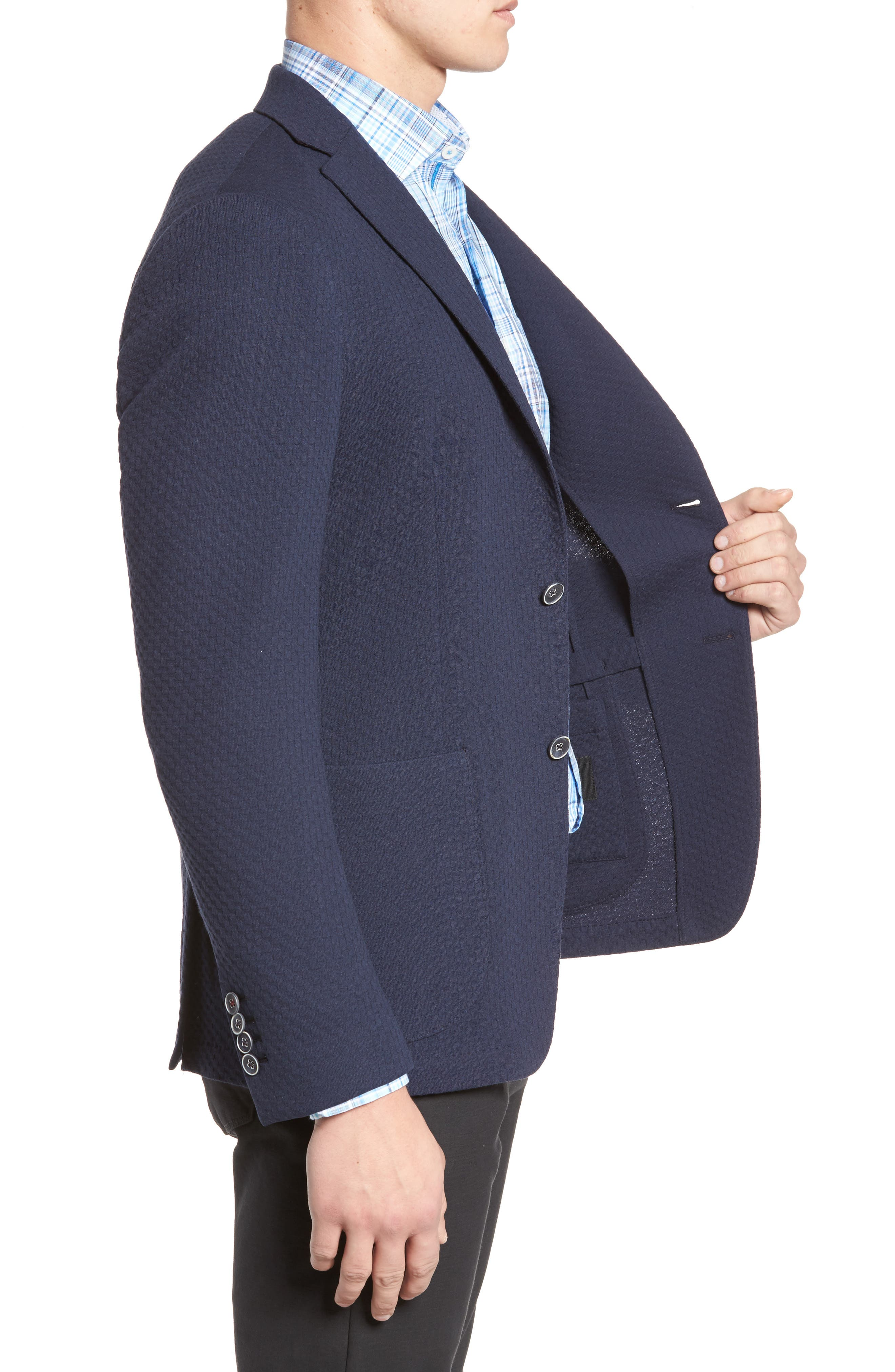 Textured Blazer,                             Alternate thumbnail 3, color,                             Navy