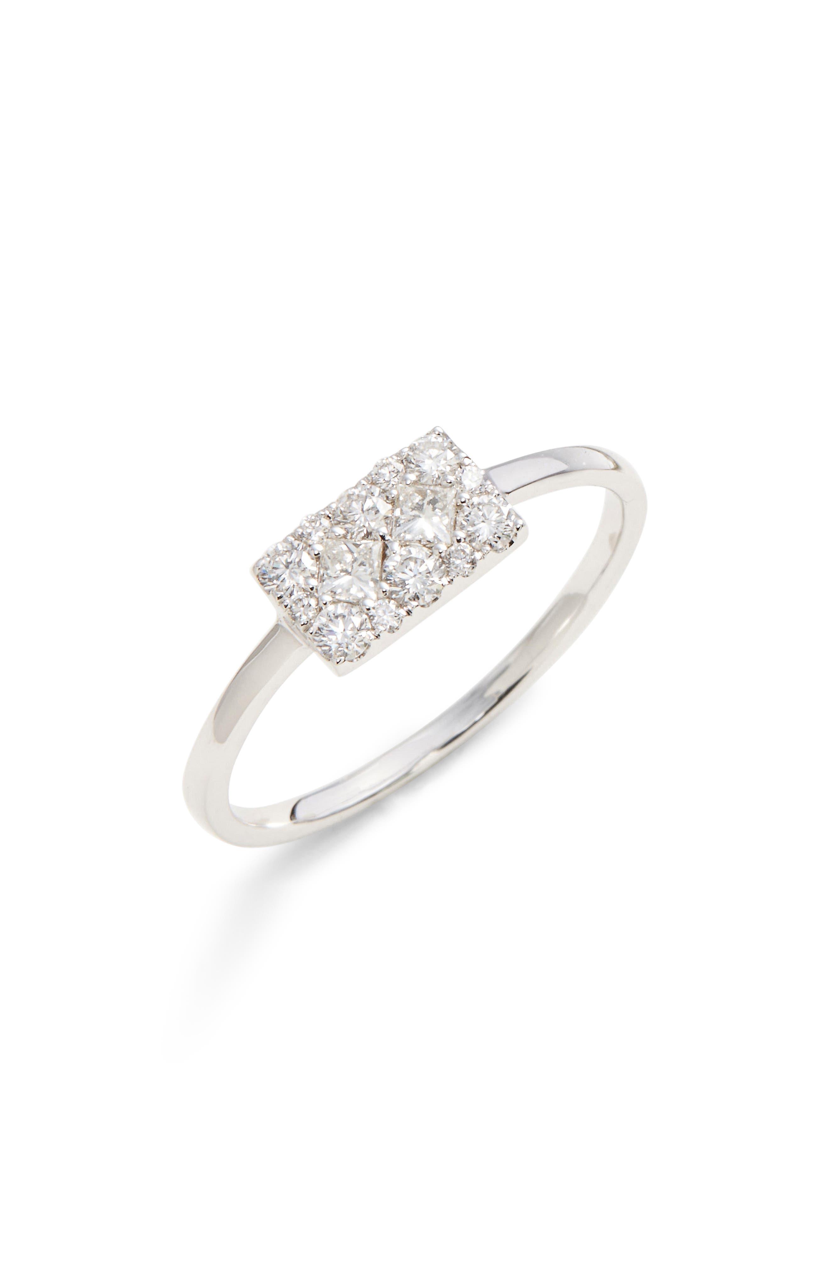 Mika Cushion Diamond Stacking Ring,                             Main thumbnail 1, color,                             White Gold