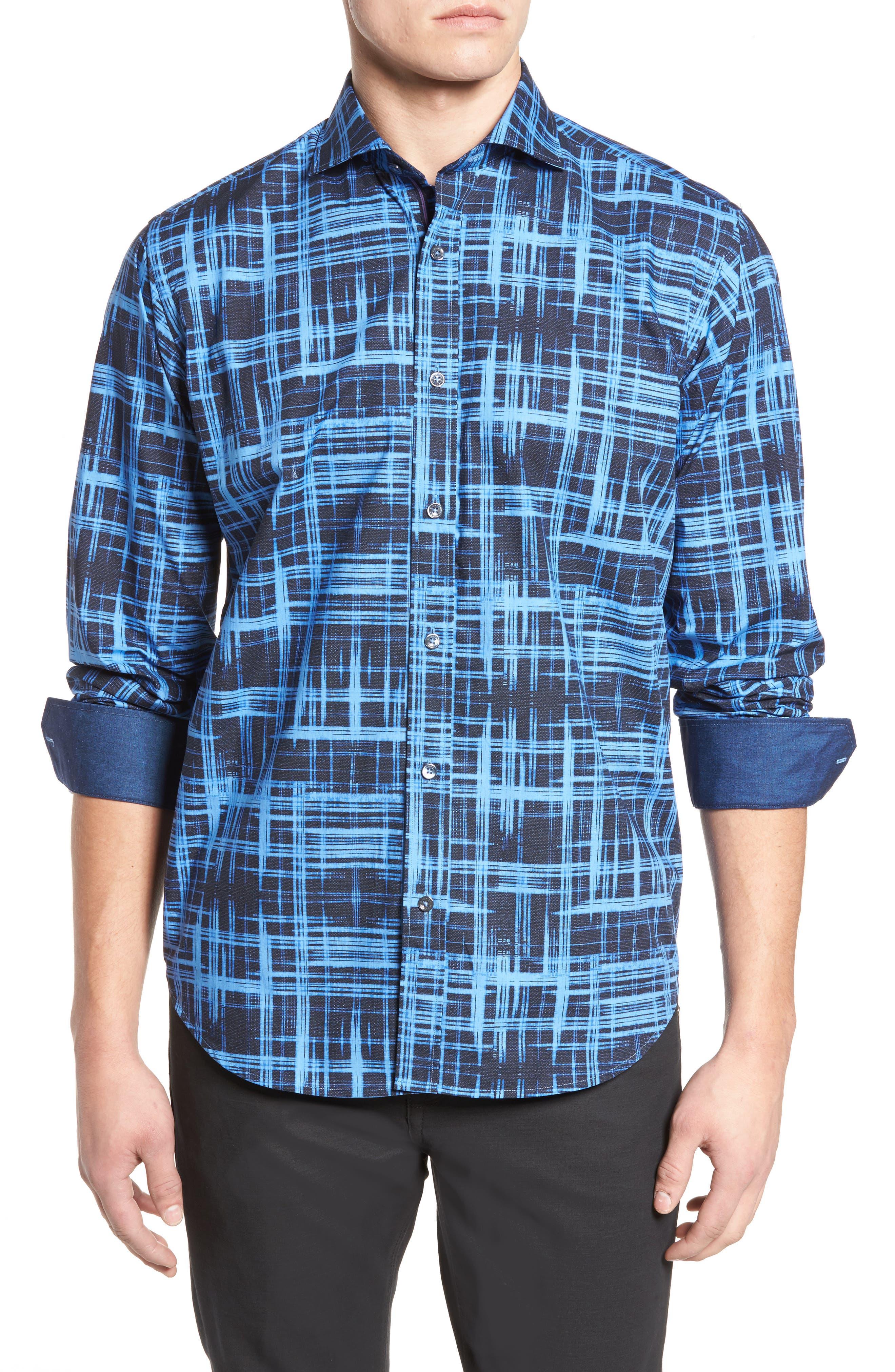 Classic Fit Print Sport Shirt,                         Main,                         color, Midnight