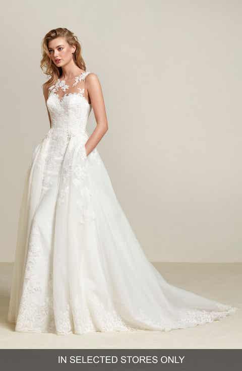 Womens sheath wedding dresses bridal gowns nordstrom pronovias drum lace sheath with detachable overskirt junglespirit Choice Image