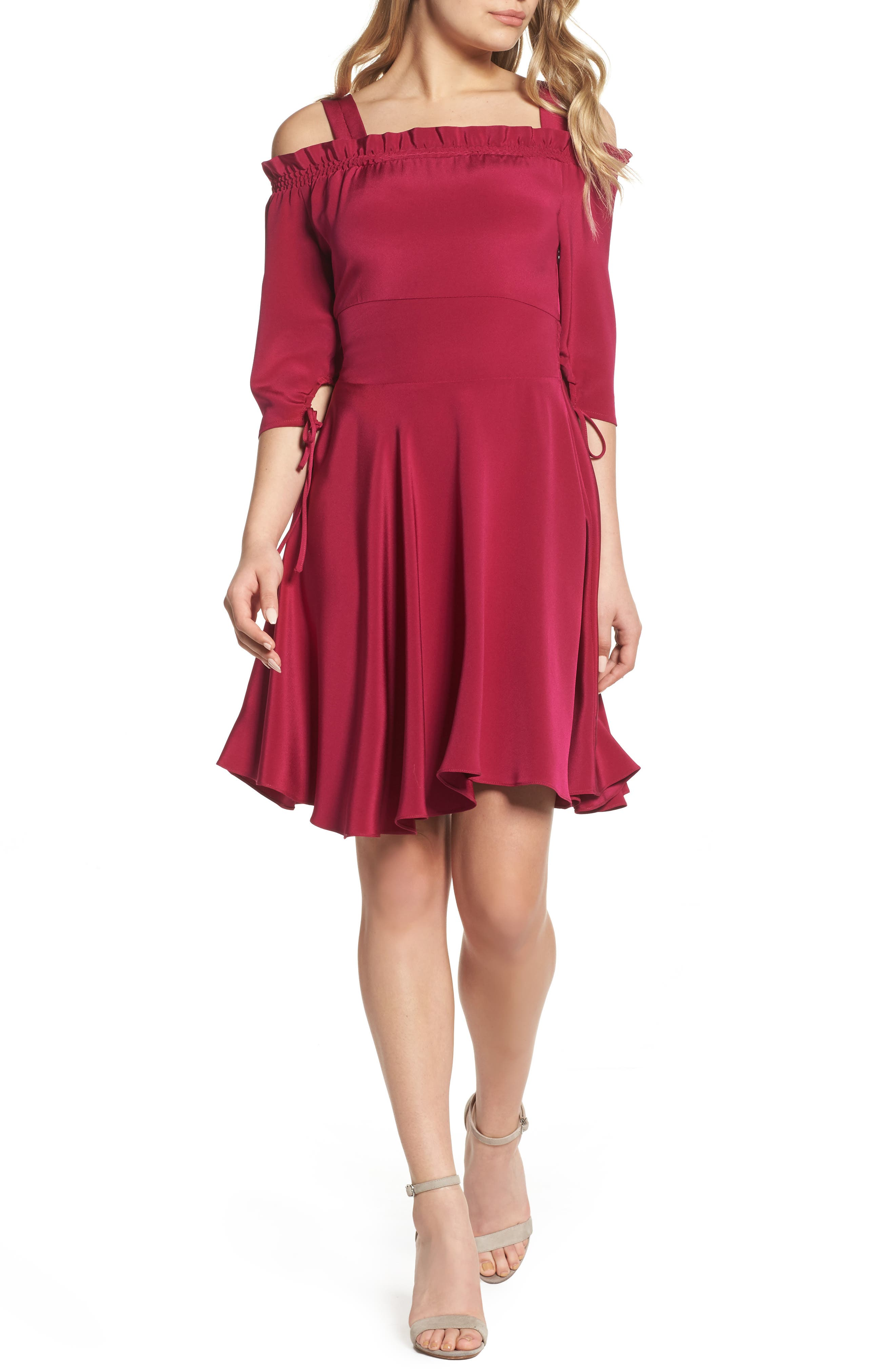 Cold Shoulder A-Line Dress,                         Main,                         color, Raspberry