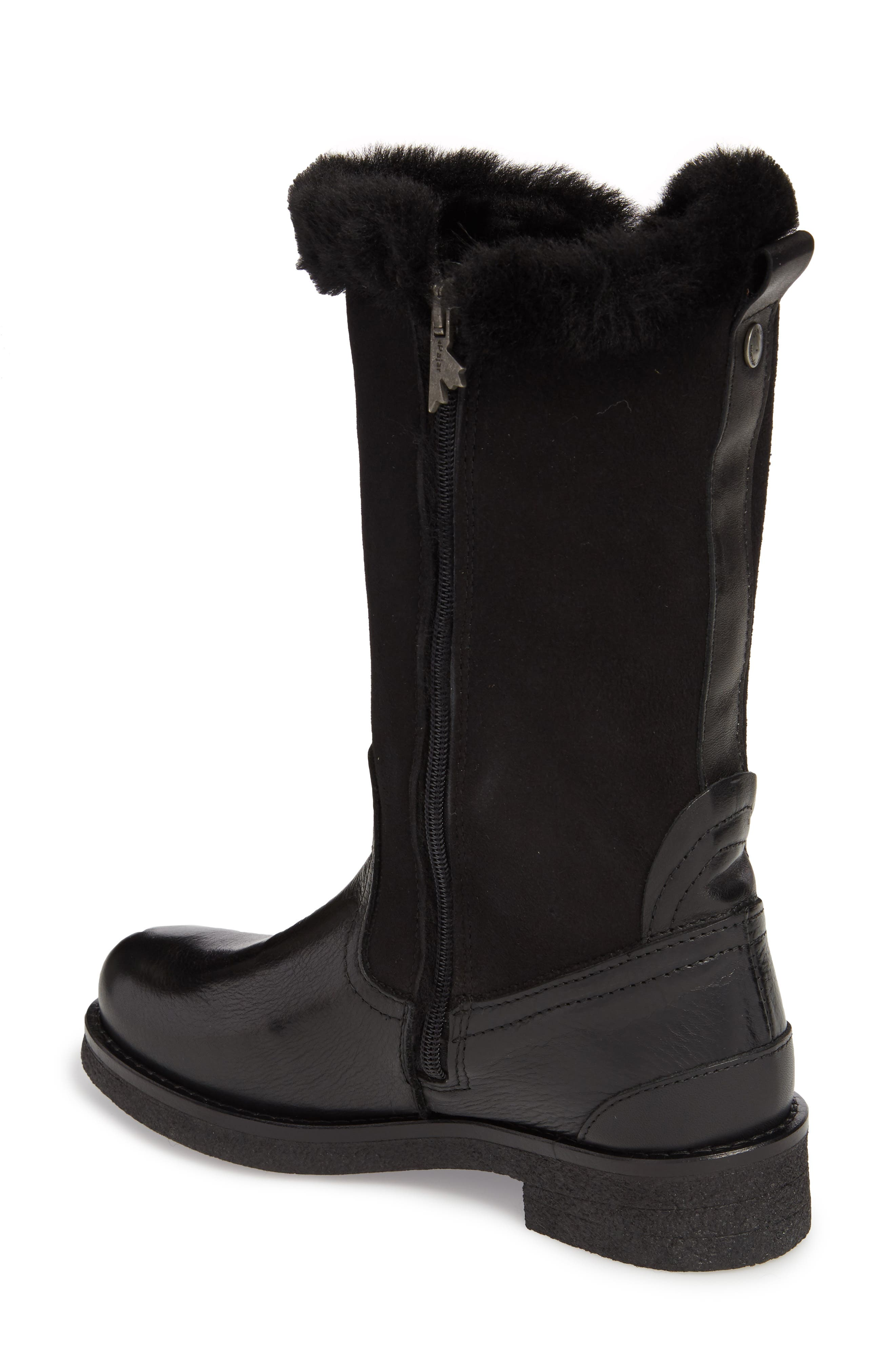 Amarillo Waterproof Insulated Snow Boot,                             Alternate thumbnail 2, color,                             Black Fur Leather