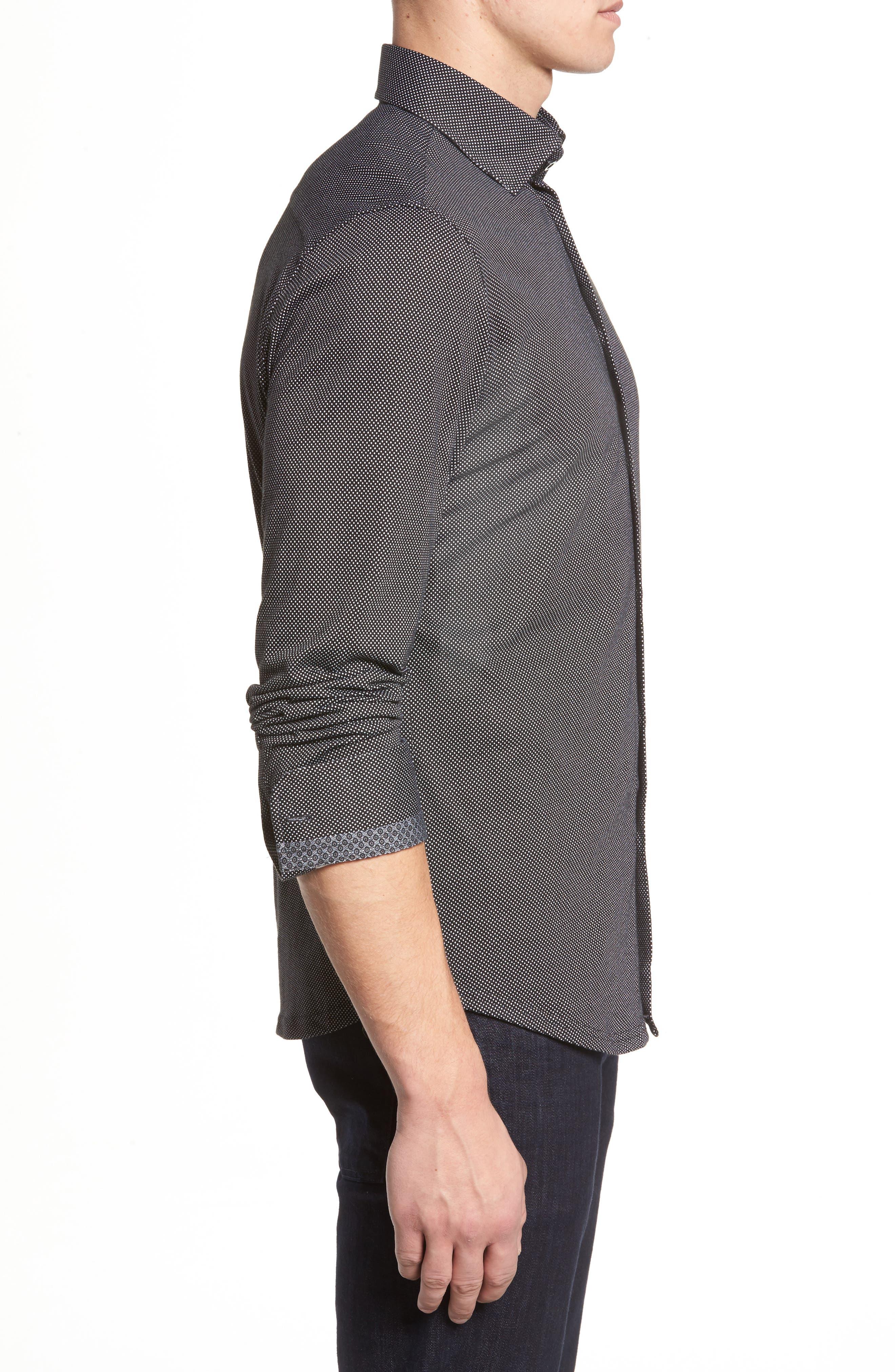 Slim Fit Micro Dot Knit Sport Shirt,                             Alternate thumbnail 4, color,                             Black
