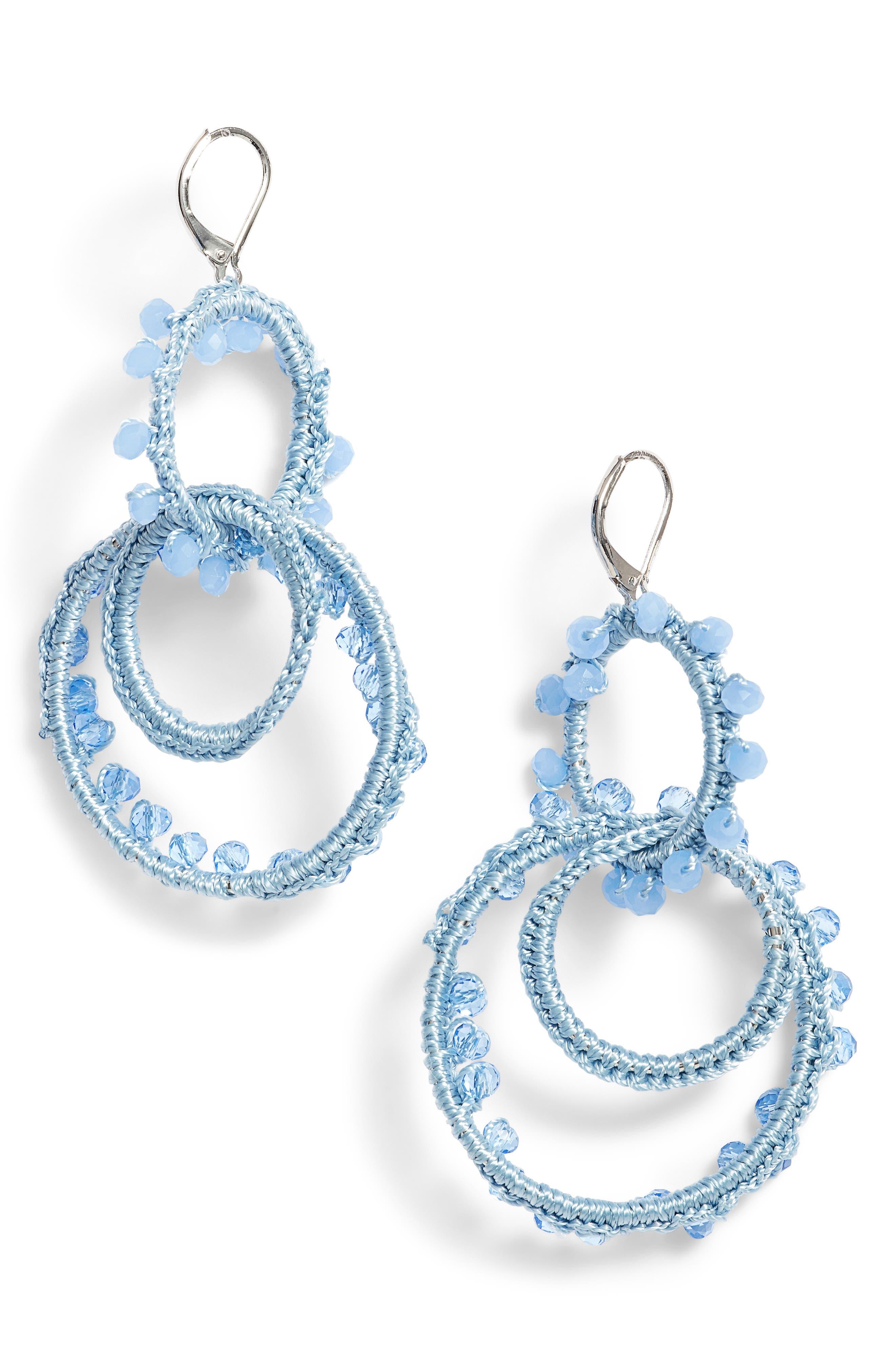 Thread Wrapped Interlocking Hoop Earrings,                         Main,                         color, Blue/ Silver