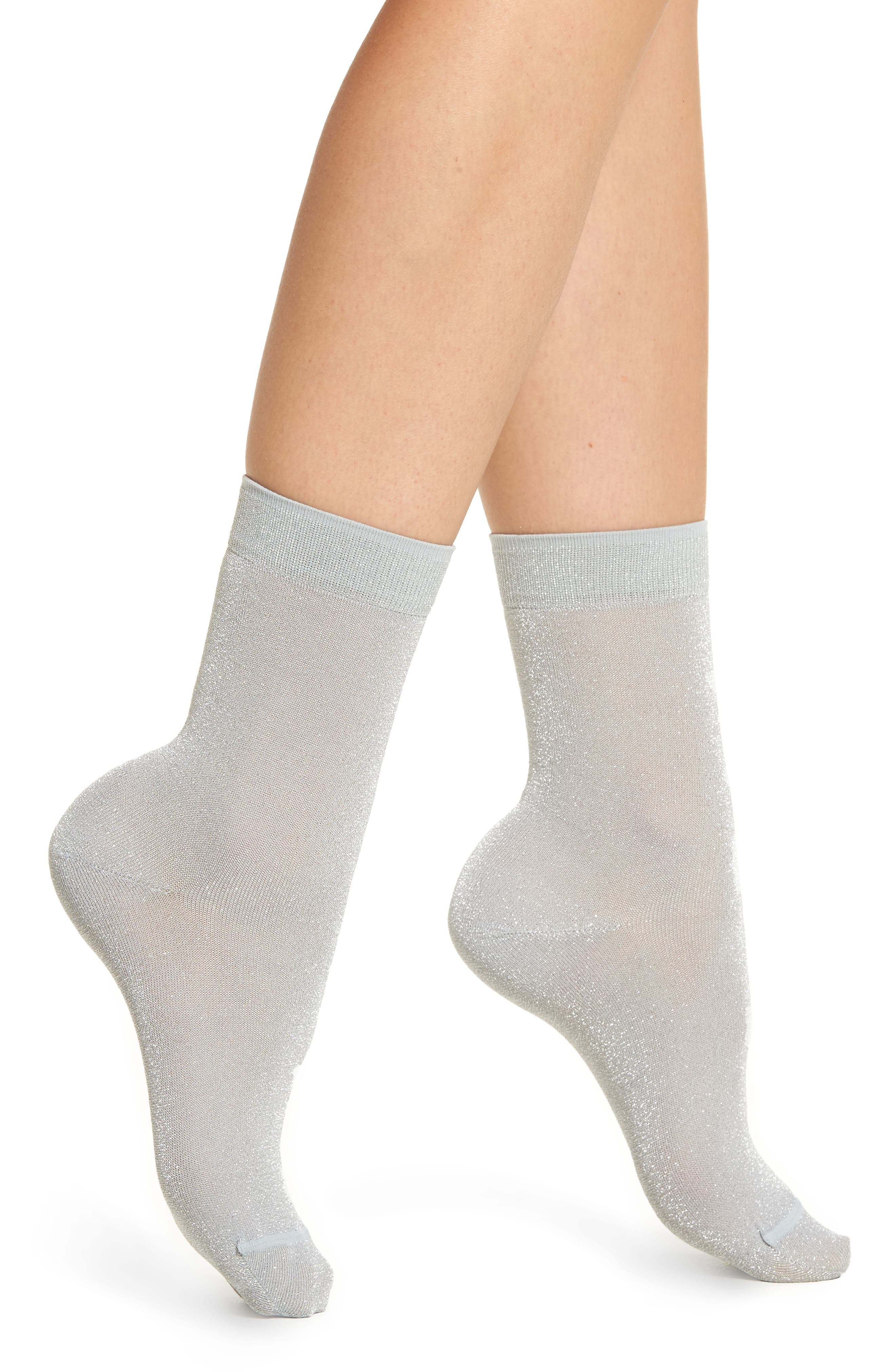 Sparkly Ankle Socks,                             Main thumbnail 1, color,                             Silver