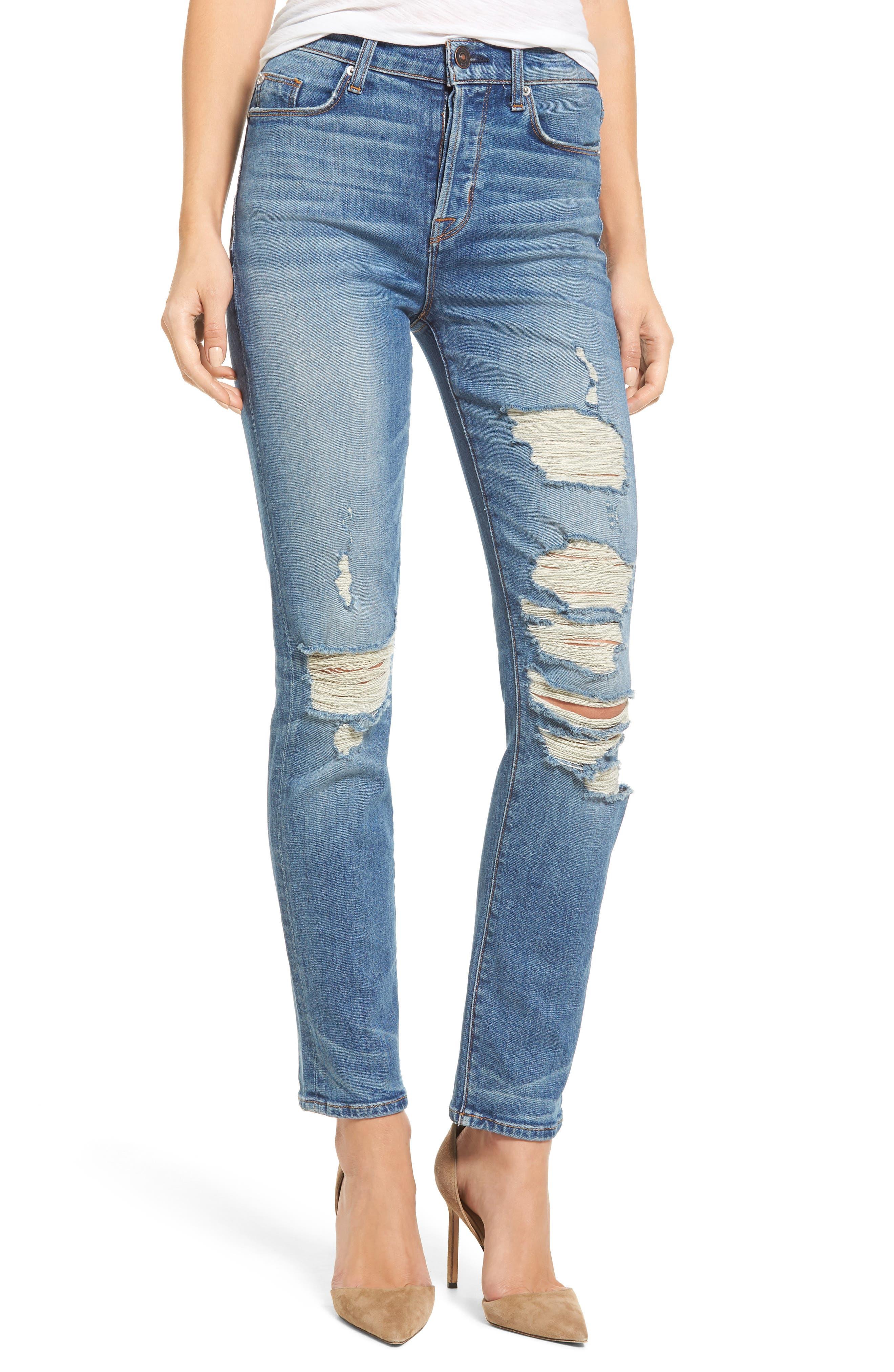 Zoeey High Waist Ankle Straight Leg Jeans,                             Main thumbnail 1, color,                             Kool