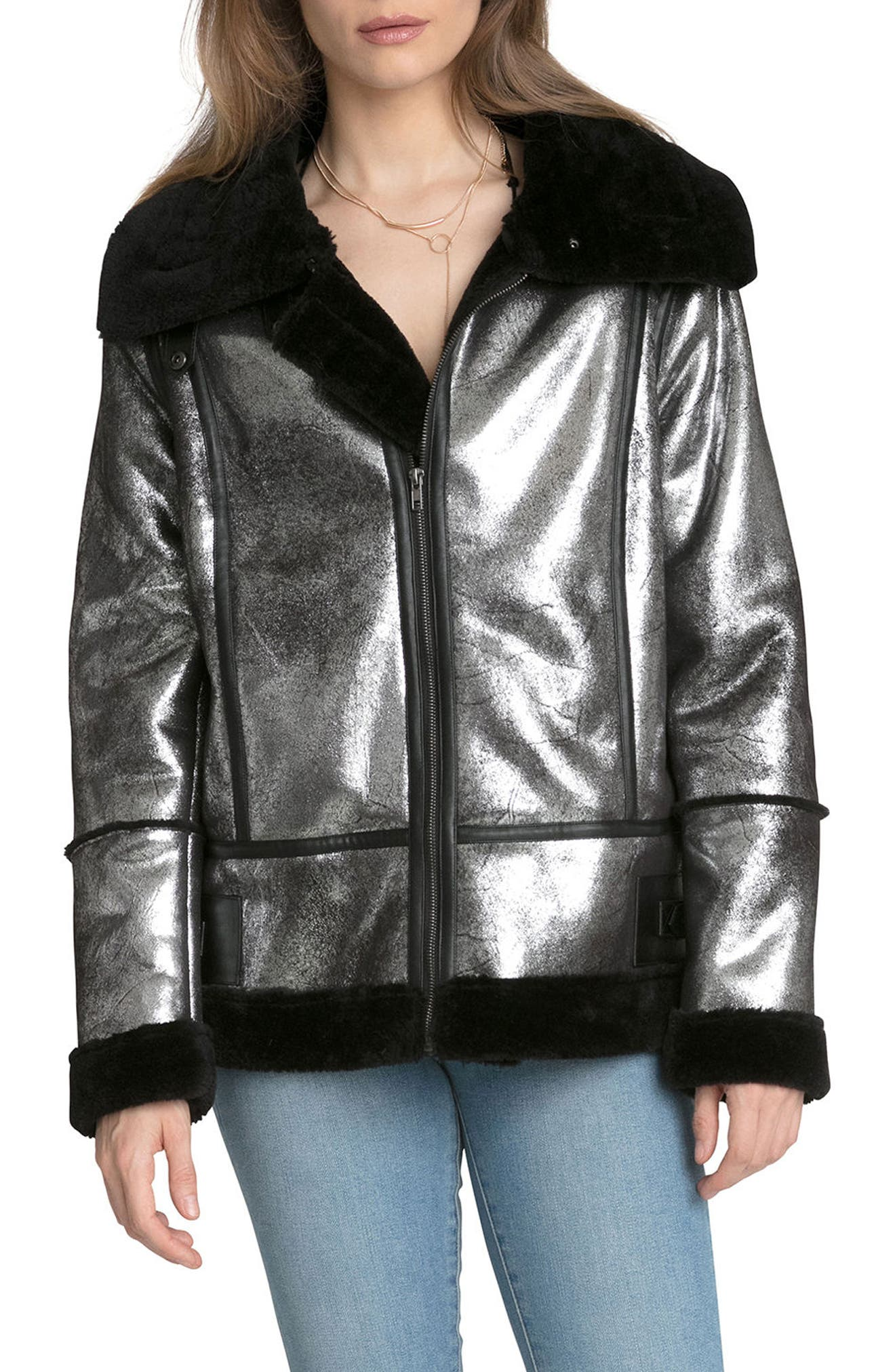 Metallic Biker Jacket with Faux Shearling Trim,                         Main,                         color, Silver/ Black