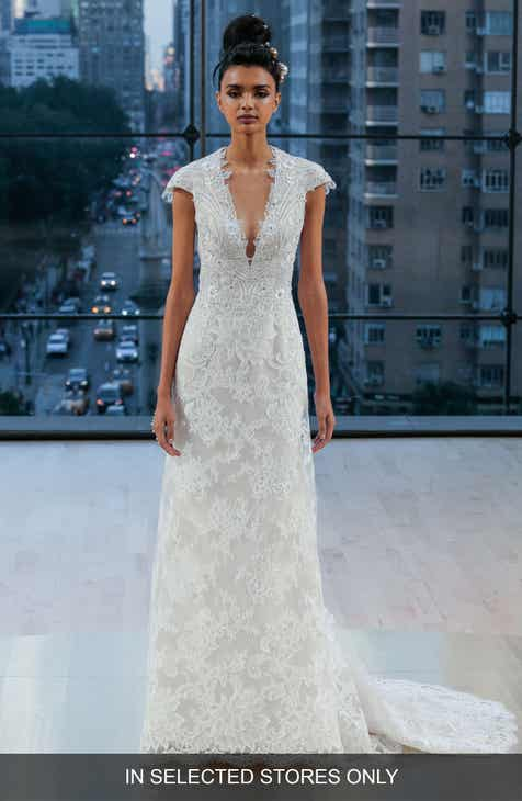 Ines Di Santo Chelsea Embellished Silk Lace A Line Gown