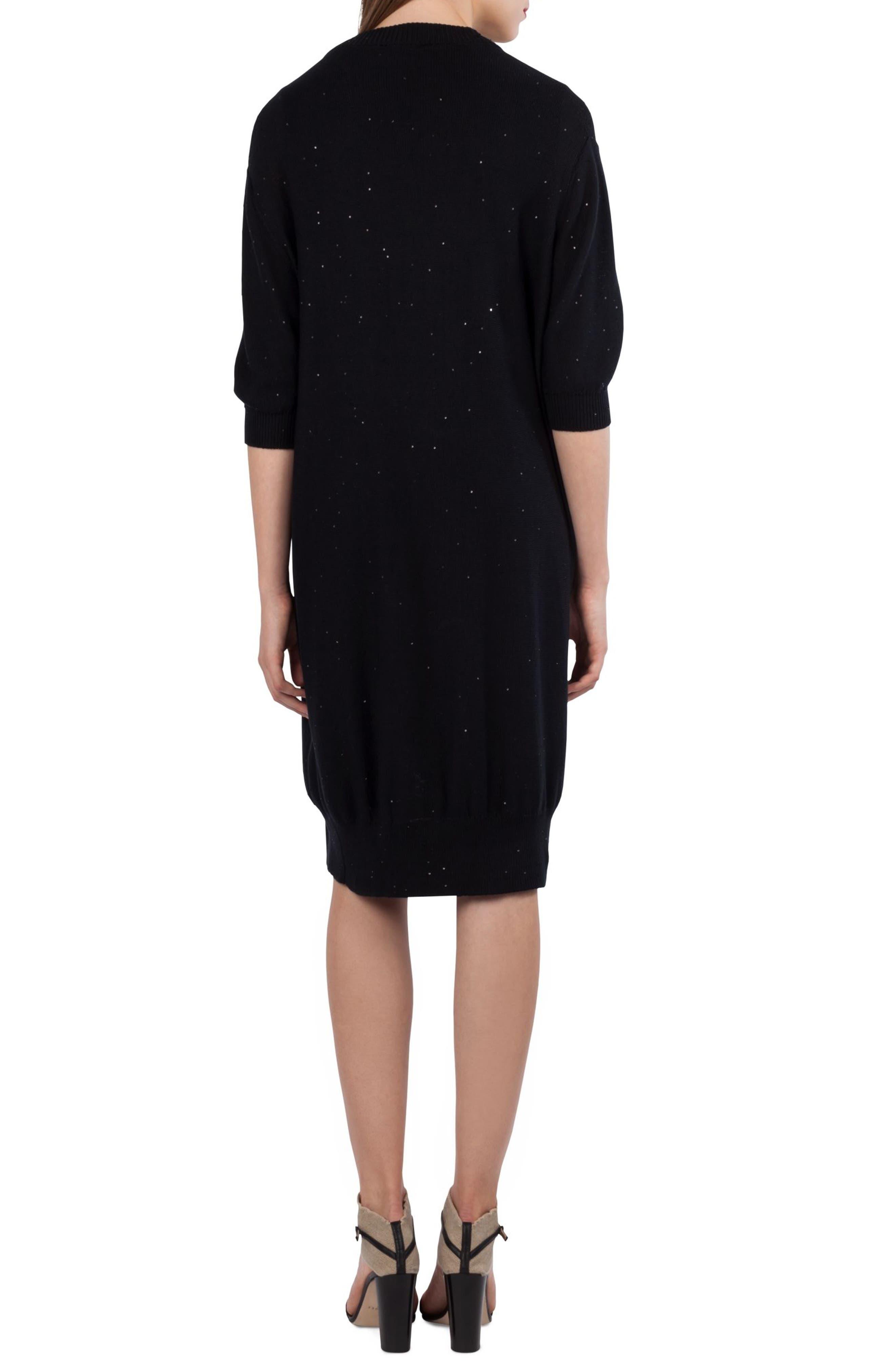 Sequin Knit Silk Blend Cardigan,                             Alternate thumbnail 3, color,                             Black