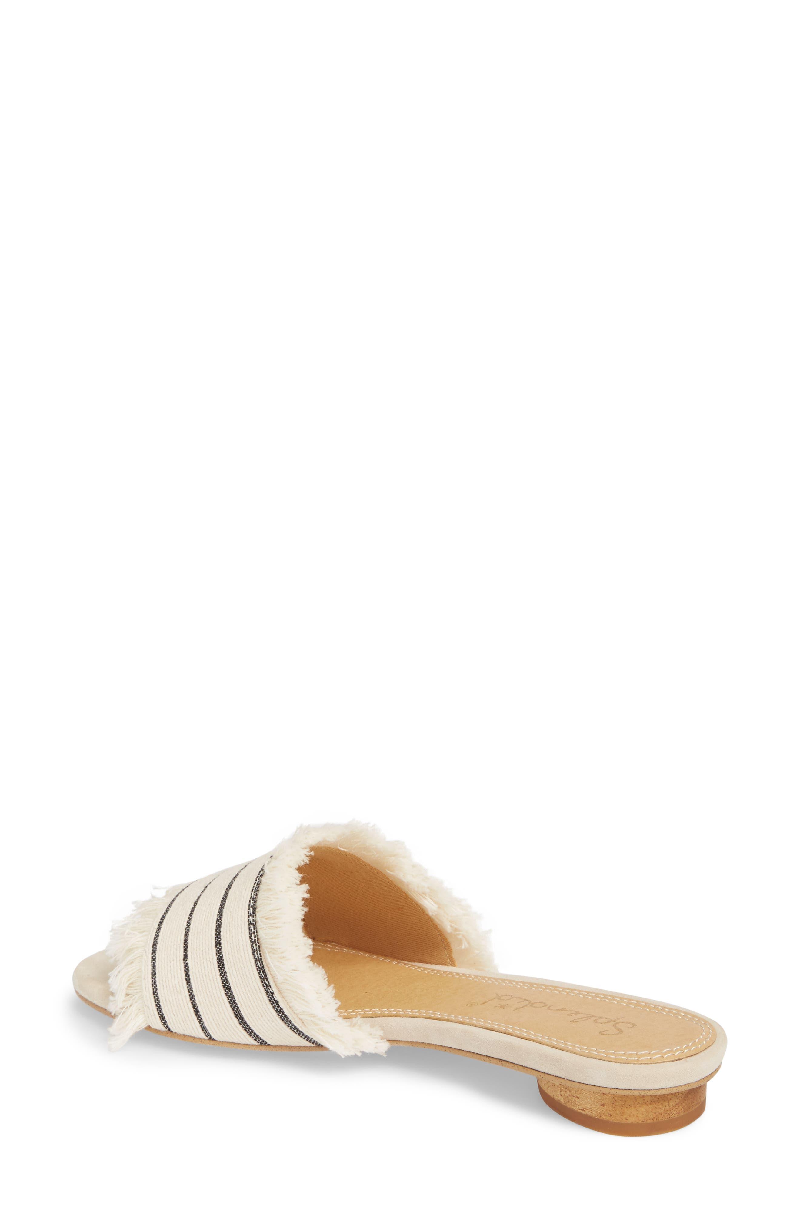 Baldwyn Fringe Slide Sandal,                             Alternate thumbnail 2, color,                             Cream Leather