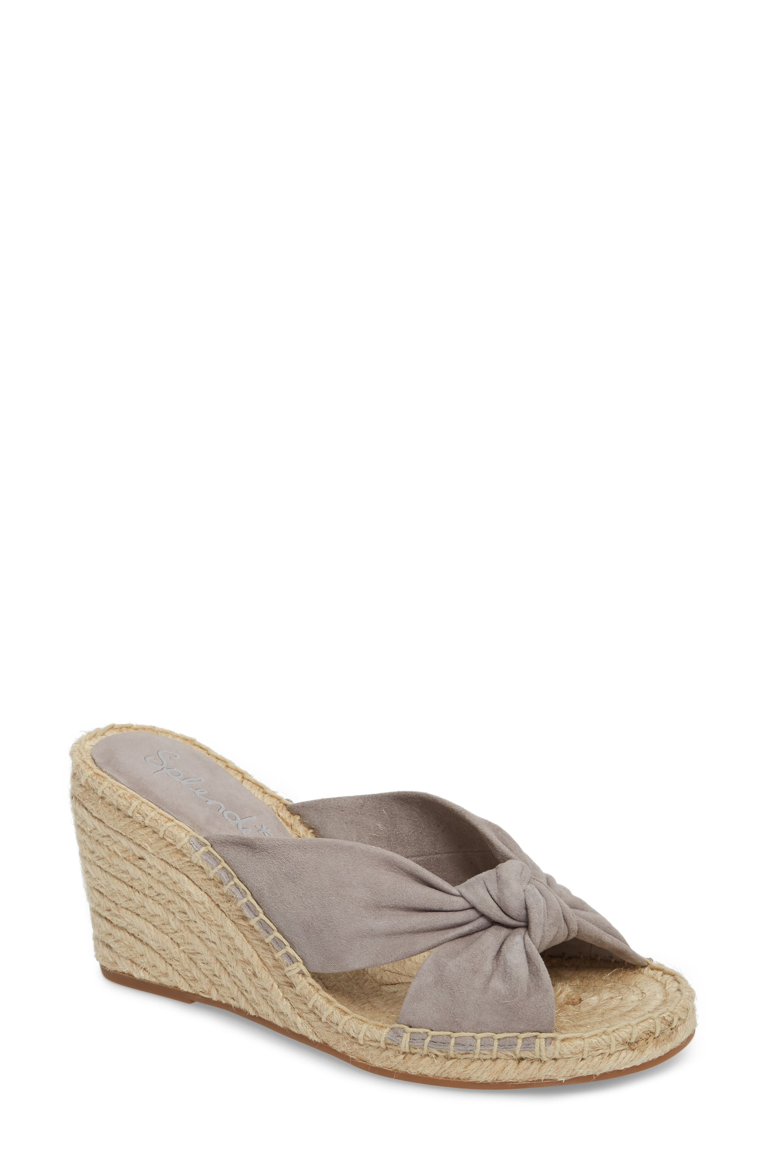 Bautista Knotted Wedge Sandal,                         Main,                         color, Grey Suede