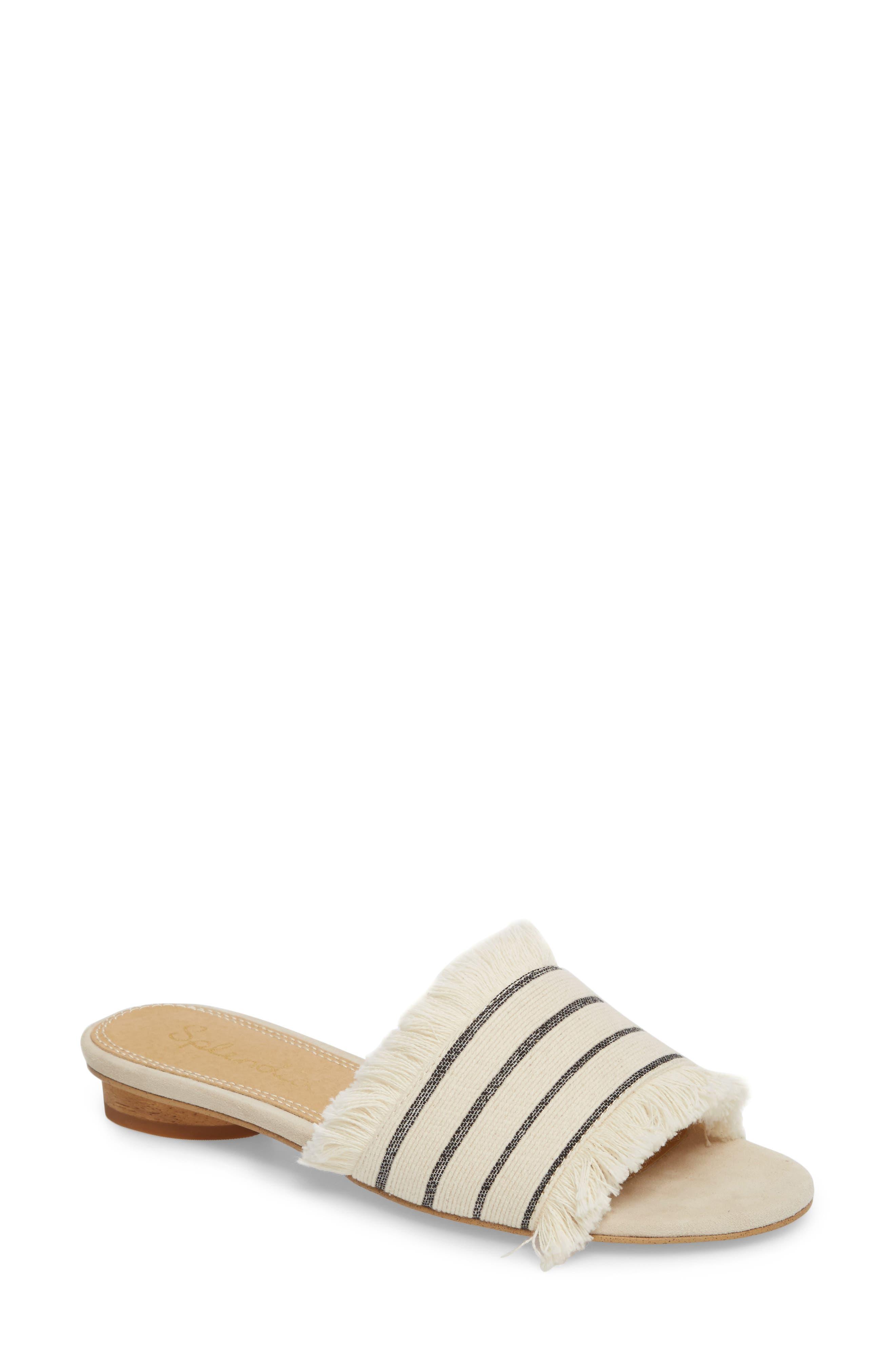 Baldwyn Fringe Slide Sandal,                             Main thumbnail 1, color,                             Cream Leather