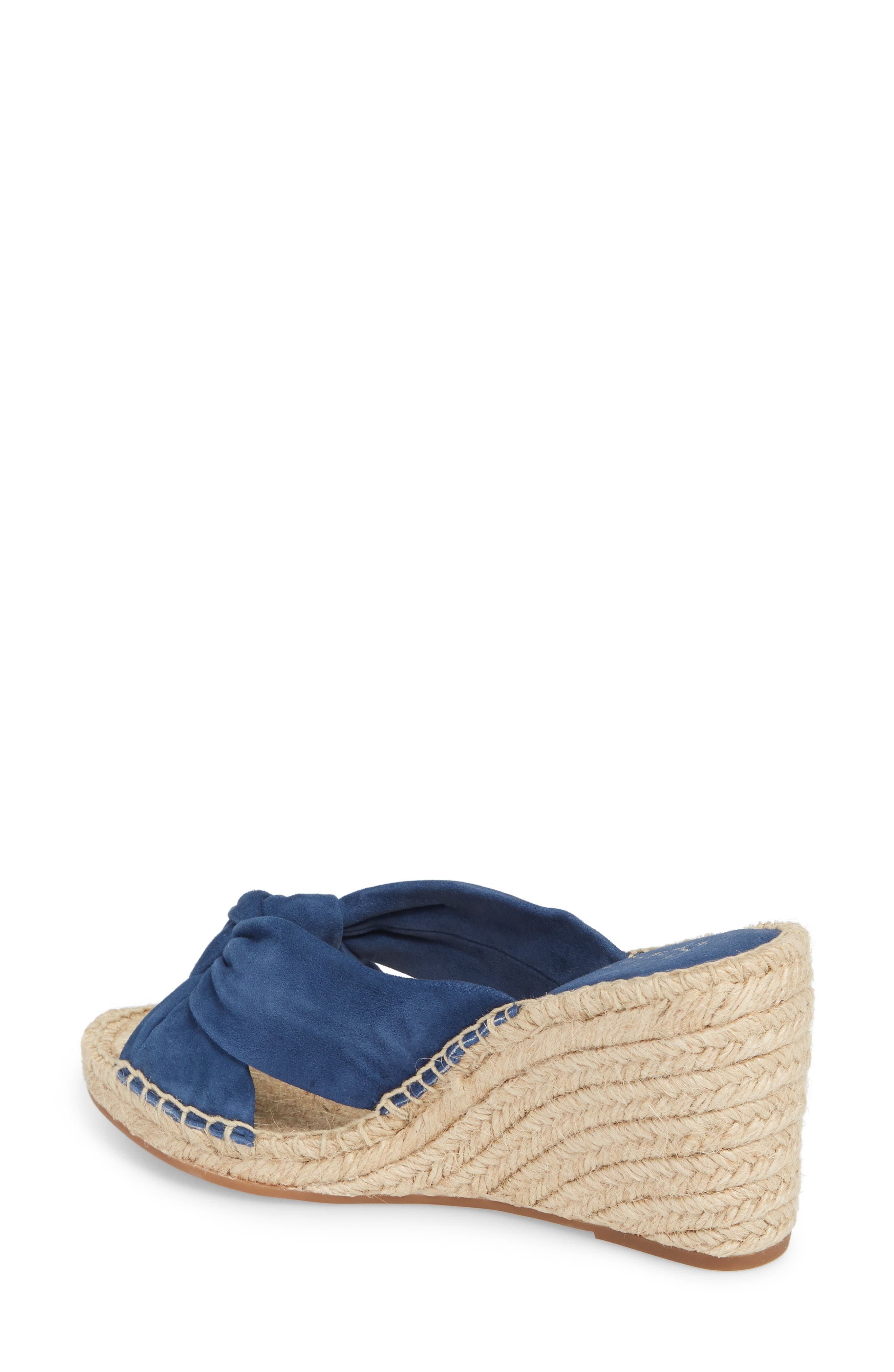 Bautista Knotted Wedge Sandal,                             Alternate thumbnail 2, color,                             Denim Fabric