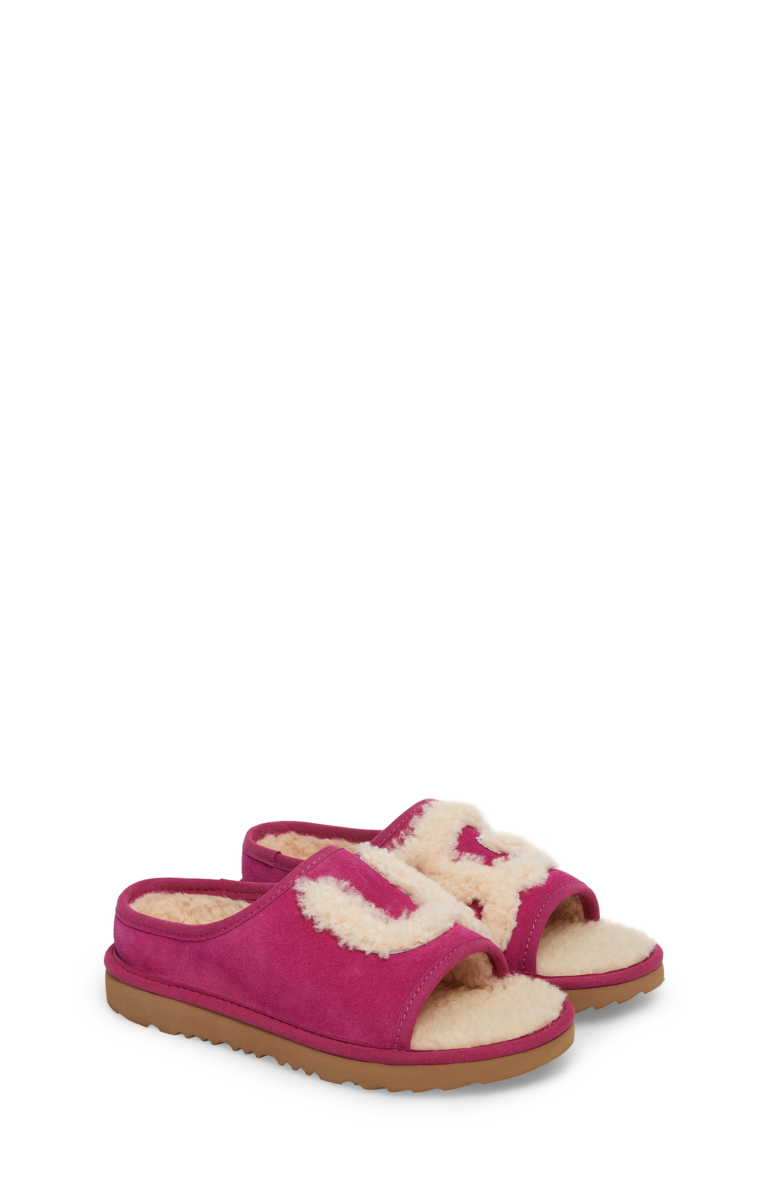Logo Slide Sandal,                             Main thumbnail 1, color,                             Magenta Rose