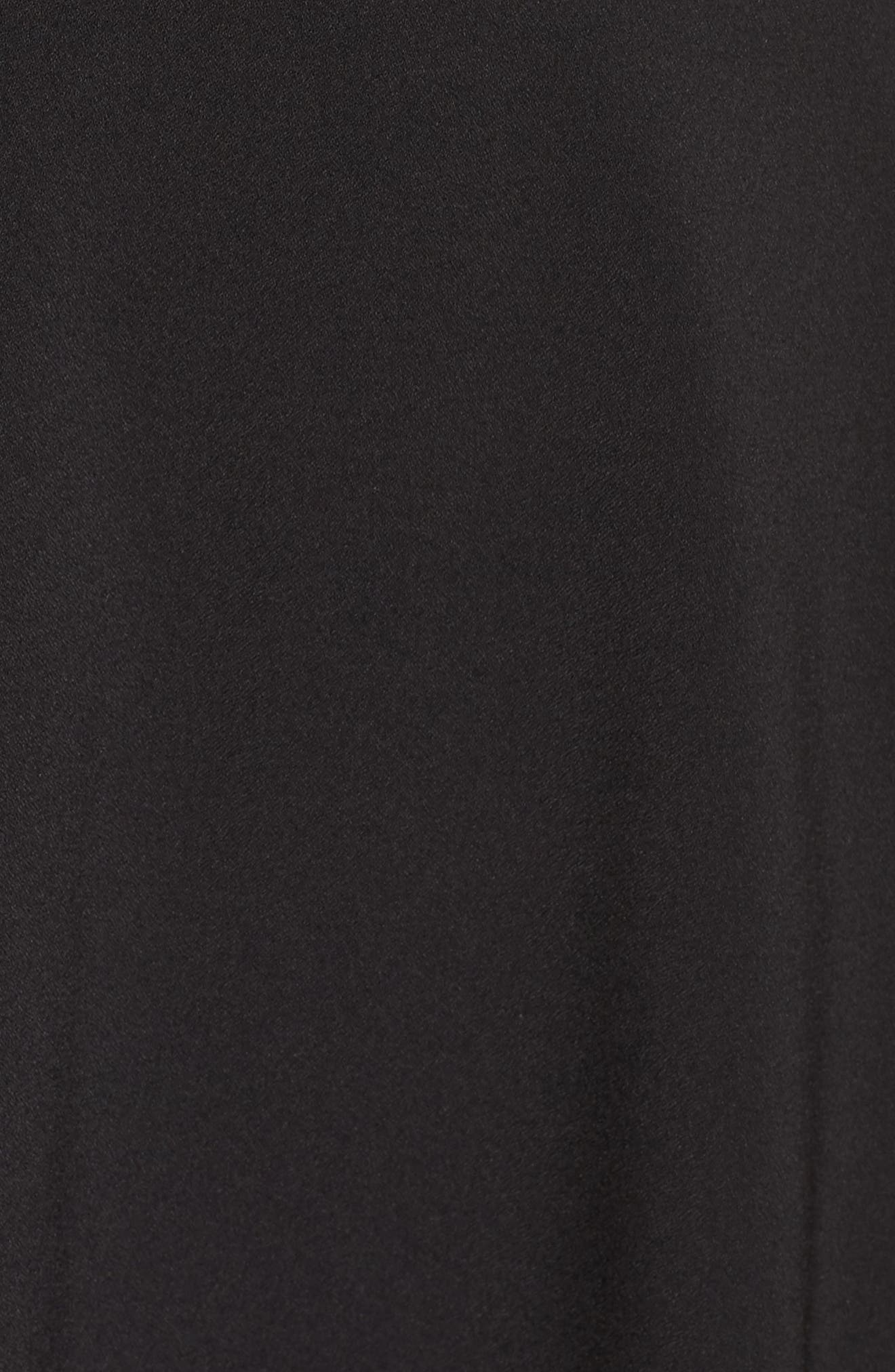 Tie Front Crepe Fit & Flare Dress,                             Alternate thumbnail 5, color,                             Black