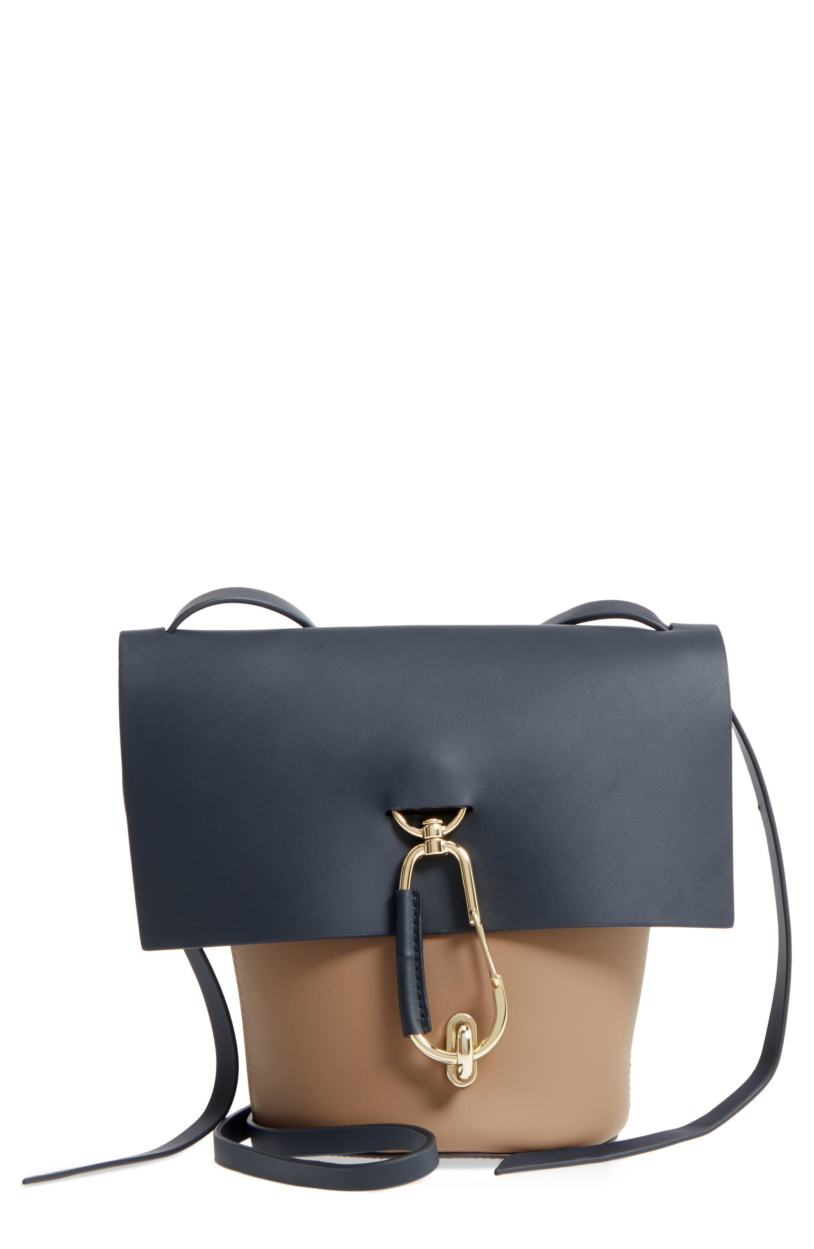 Belay Colorblock Calfskin Leather Crossbody Bucket Bag,                         Main,                         color, Navy
