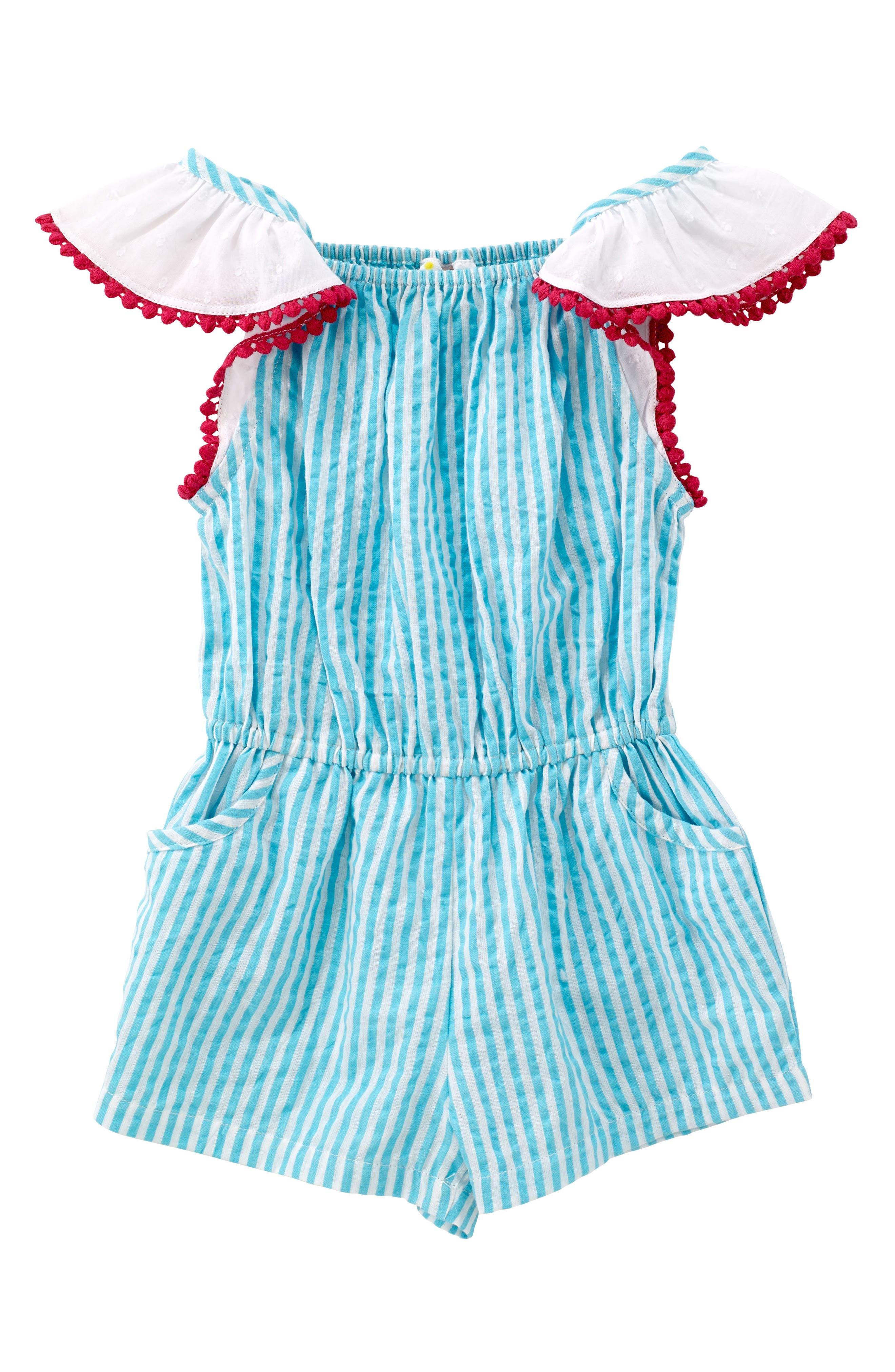 Zuri Stripe Romper,                         Main,                         color, Turquoise
