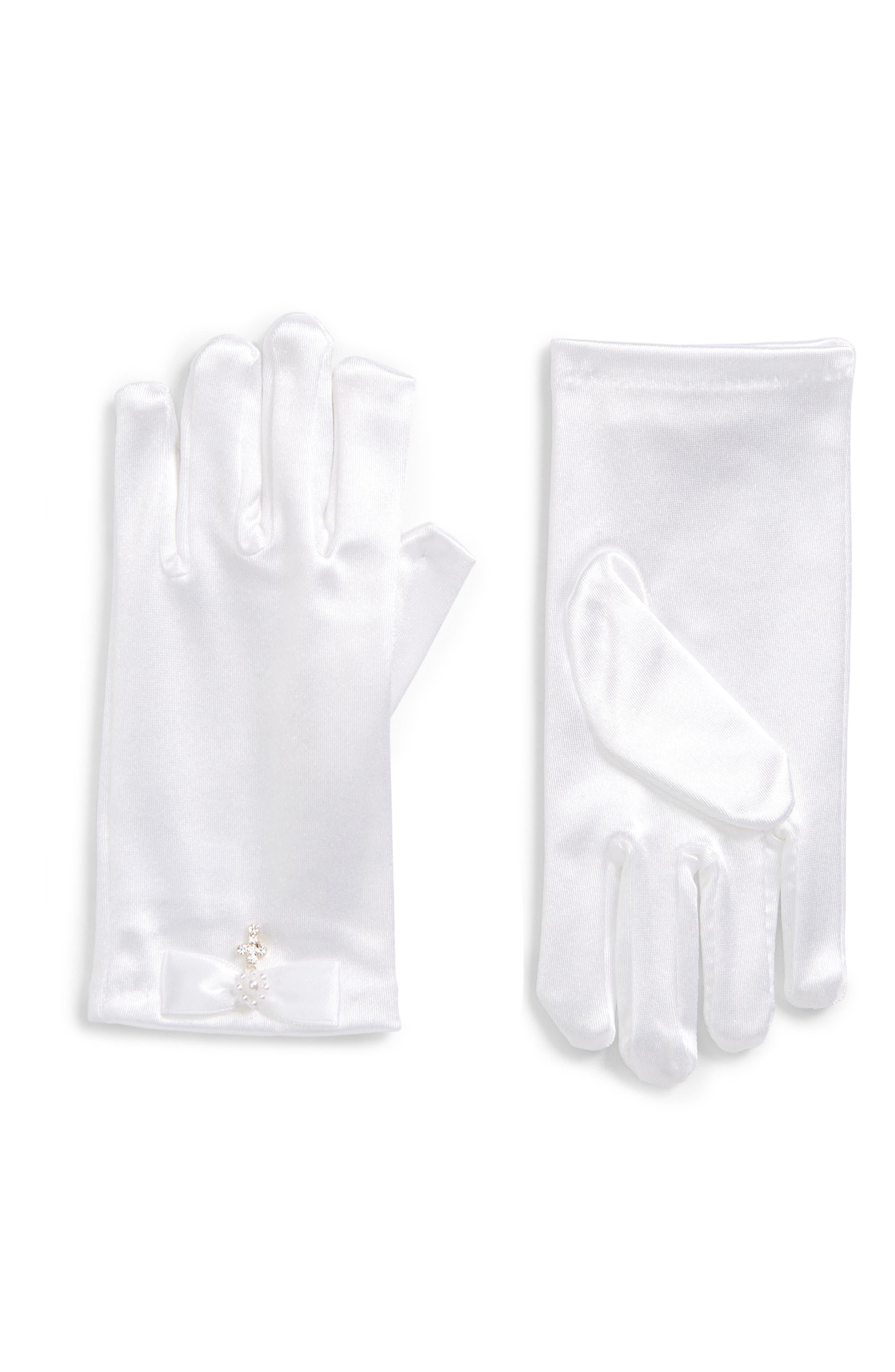 Lauren Marie Rhinestone Cross Satin Gloves (Girls)