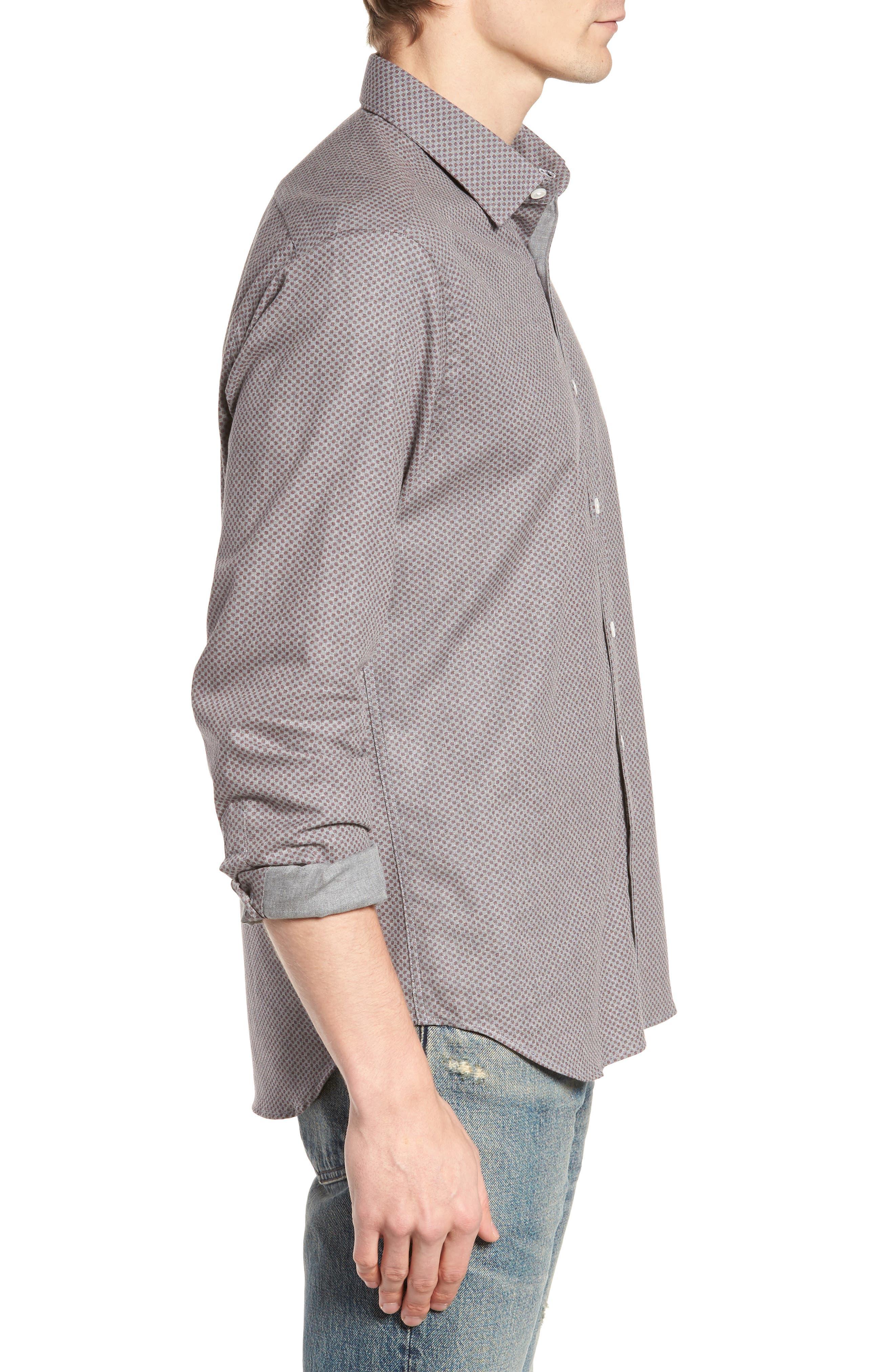 Ludlow Slim Fit Flannel Sport Shirt,                             Alternate thumbnail 3, color,                             Grey