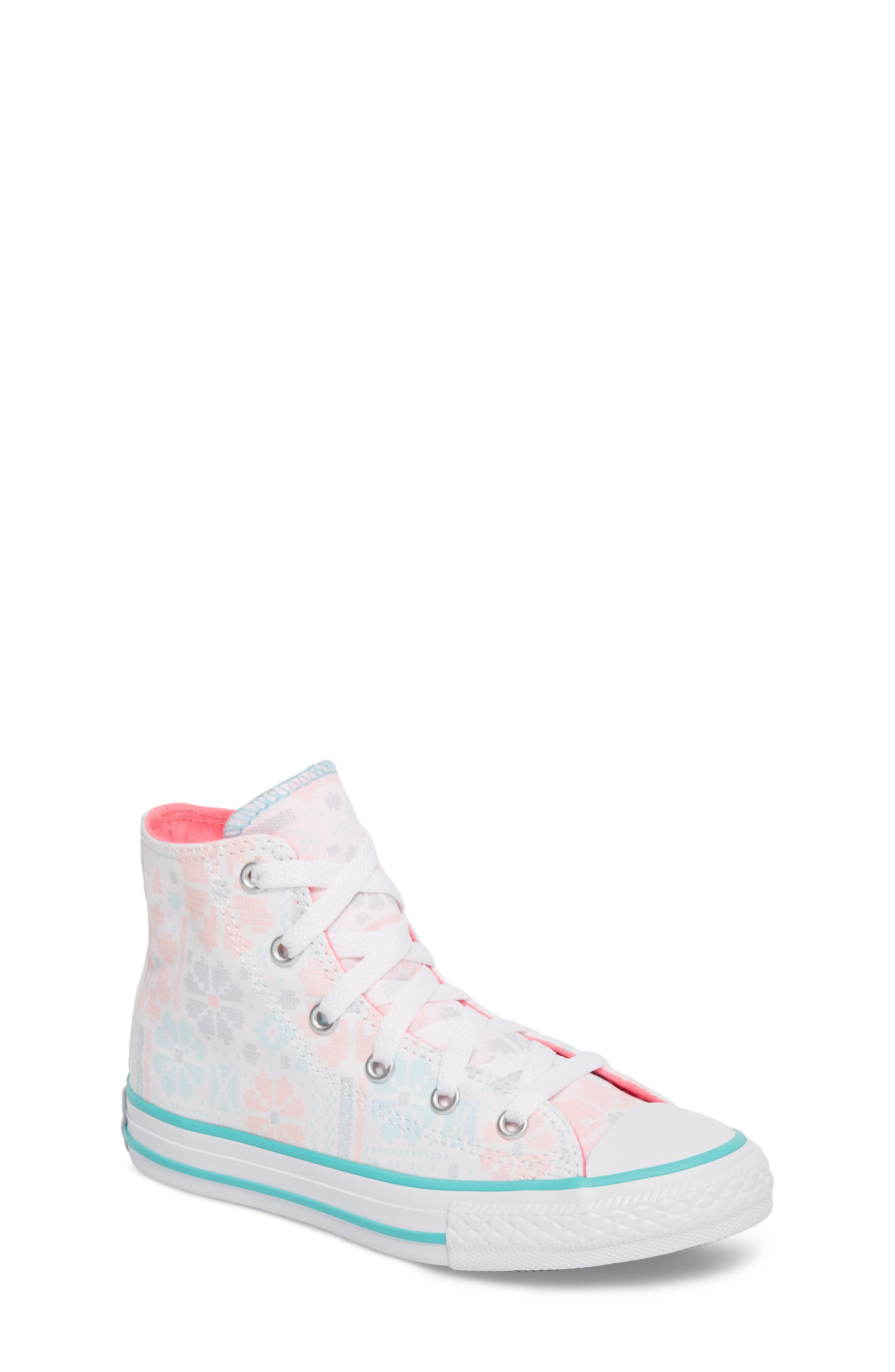 Chuck Taylor<sup>®</sup> All Star<sup>®</sup> High Top Sneaker,                             Main thumbnail 1, color,                             White/ Pink Canvas