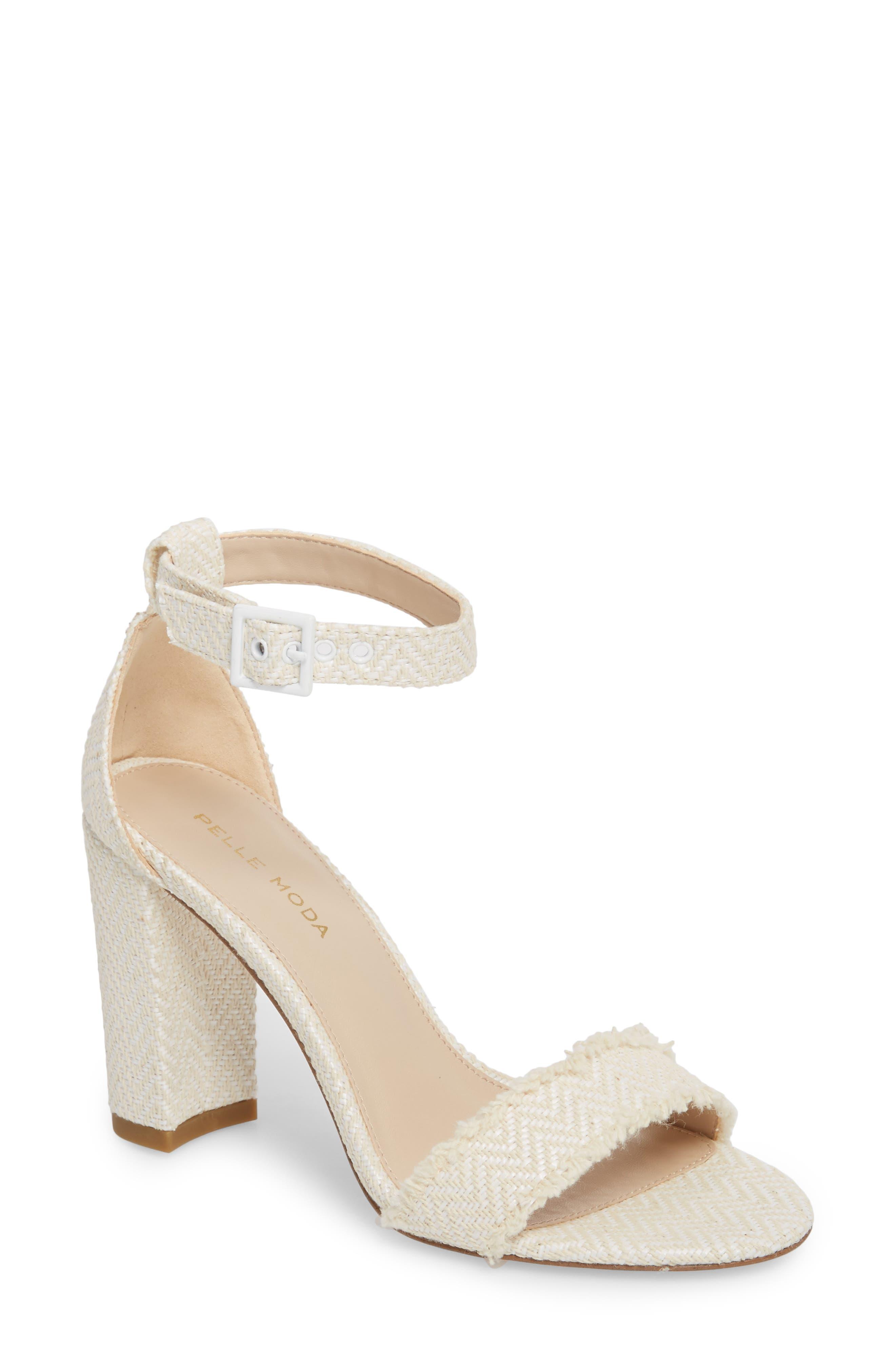 Bonnie Ankle Strap Sandal,                             Main thumbnail 1, color,                             White Herringbone