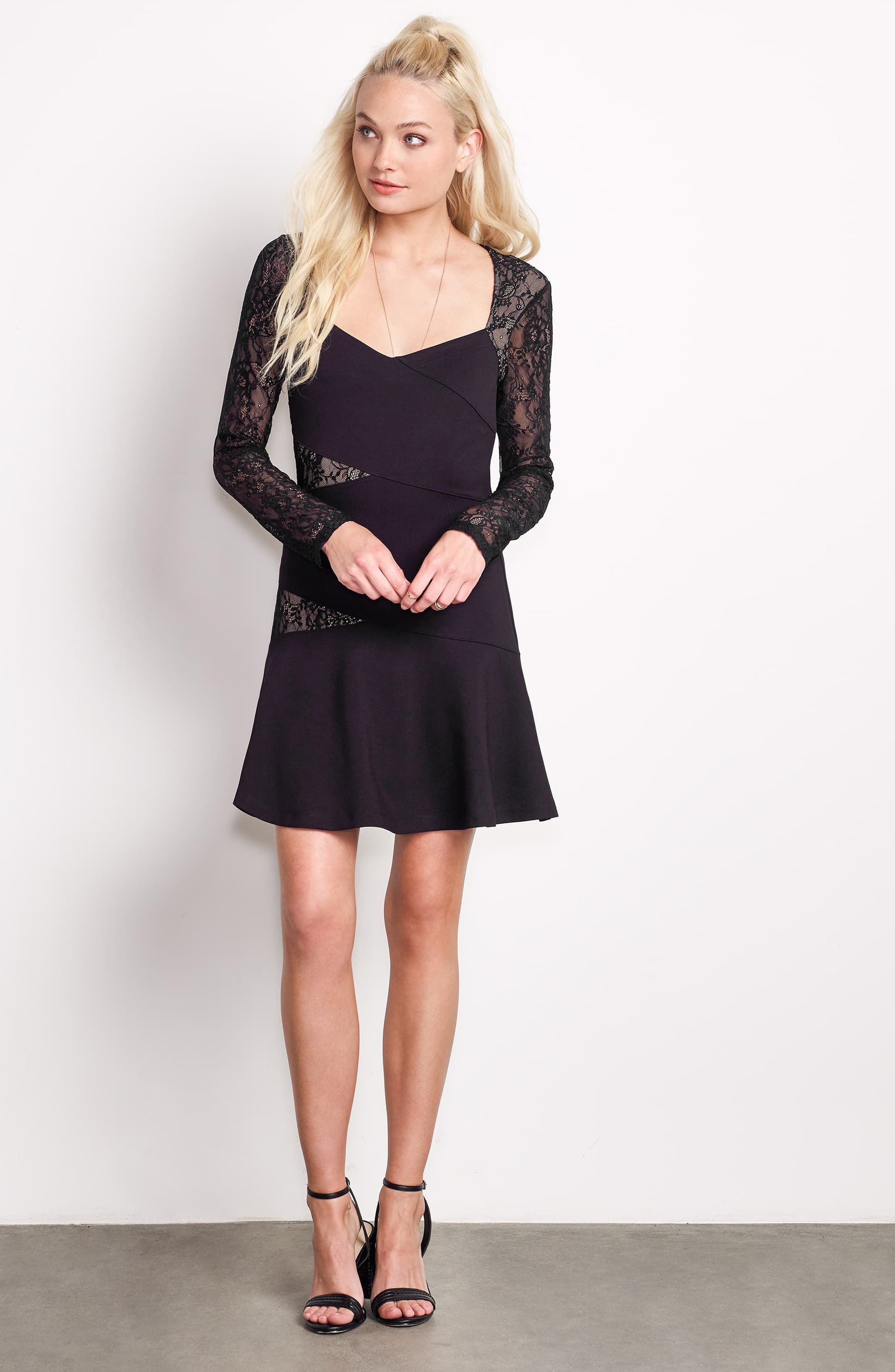L'Arc Ponte Knit Fit & Flare Dress,                             Alternate thumbnail 2, color,                             Black