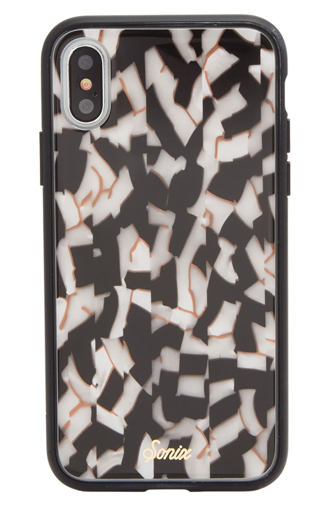 Pearlescent Black iPhone X Case,                         Main,                         color, Black/ White