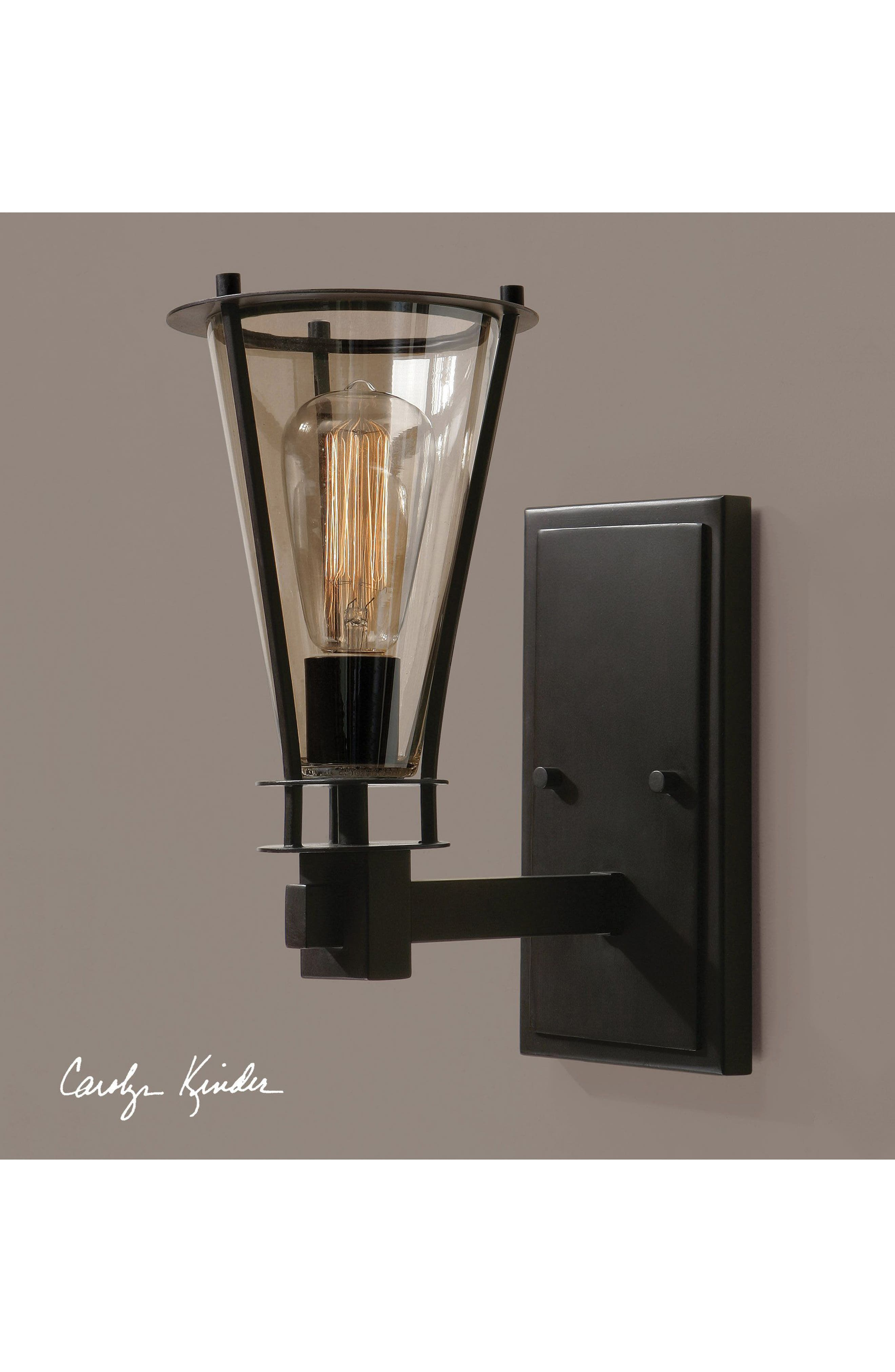 Frisco Wall Sconce,                             Alternate thumbnail 2, color,                             Black