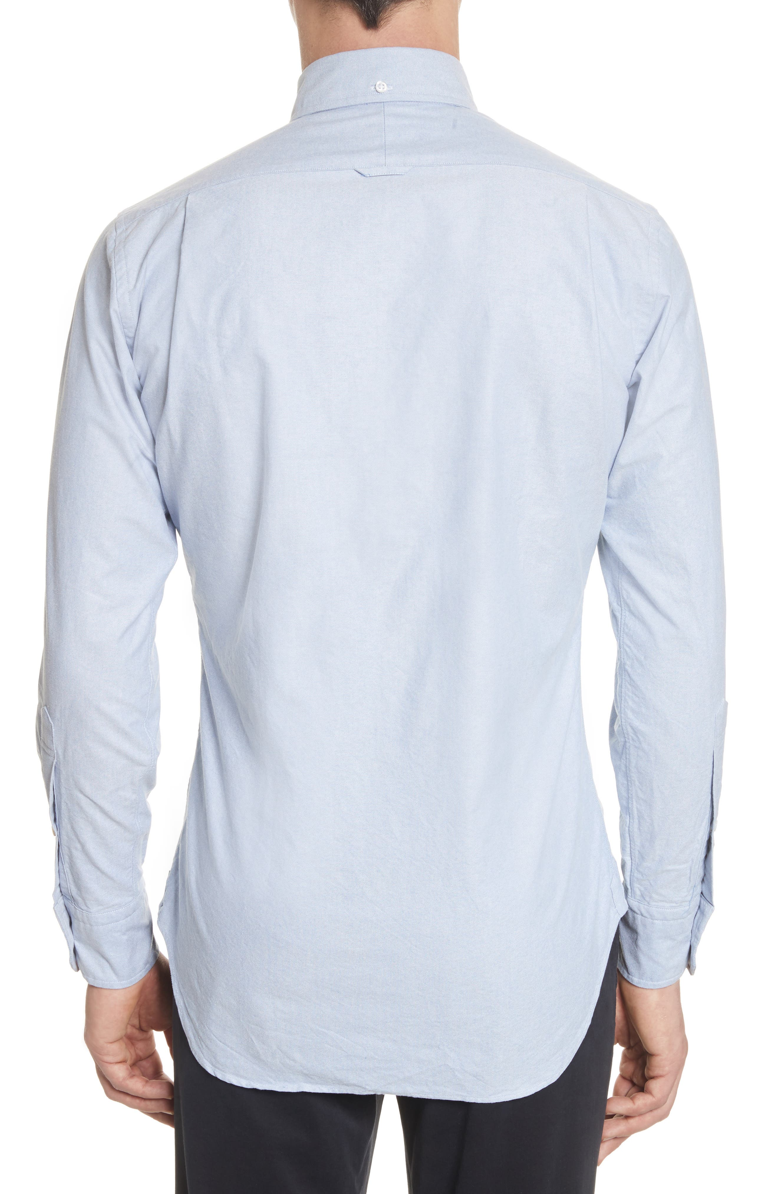 Extra Trim Fit Oxford Shirt with Grosgrain Trim,                             Alternate thumbnail 3, color,                             Light Blue