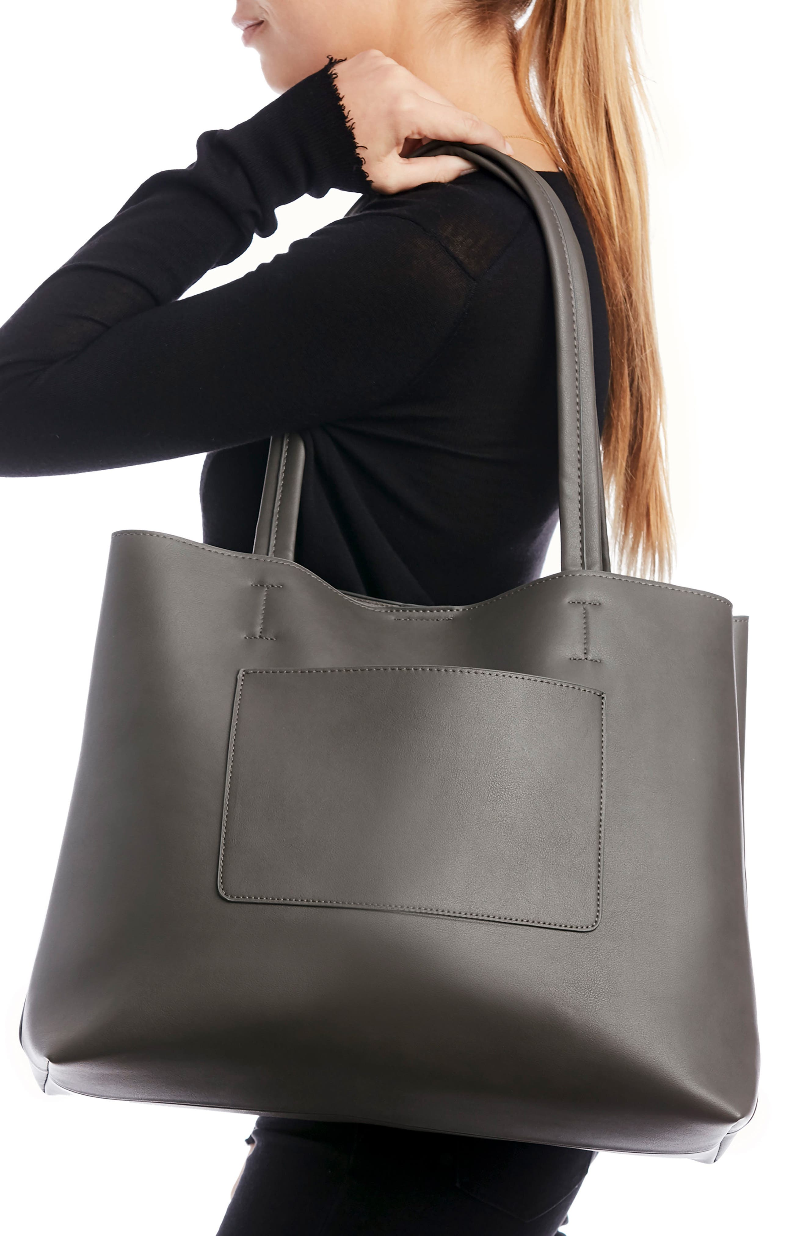Oversize Faux Leather Tote,                             Alternate thumbnail 2, color,                             Grey