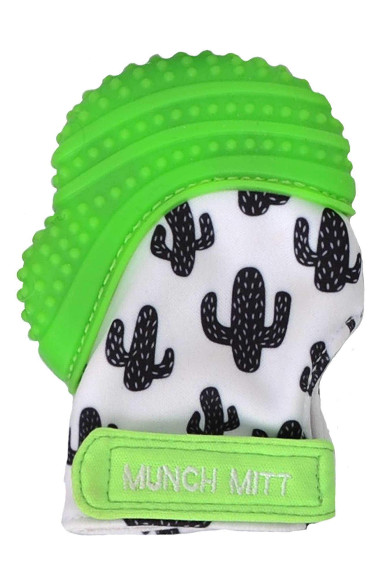 Cactus Print Teething Mitt,                         Main,                         color, Green