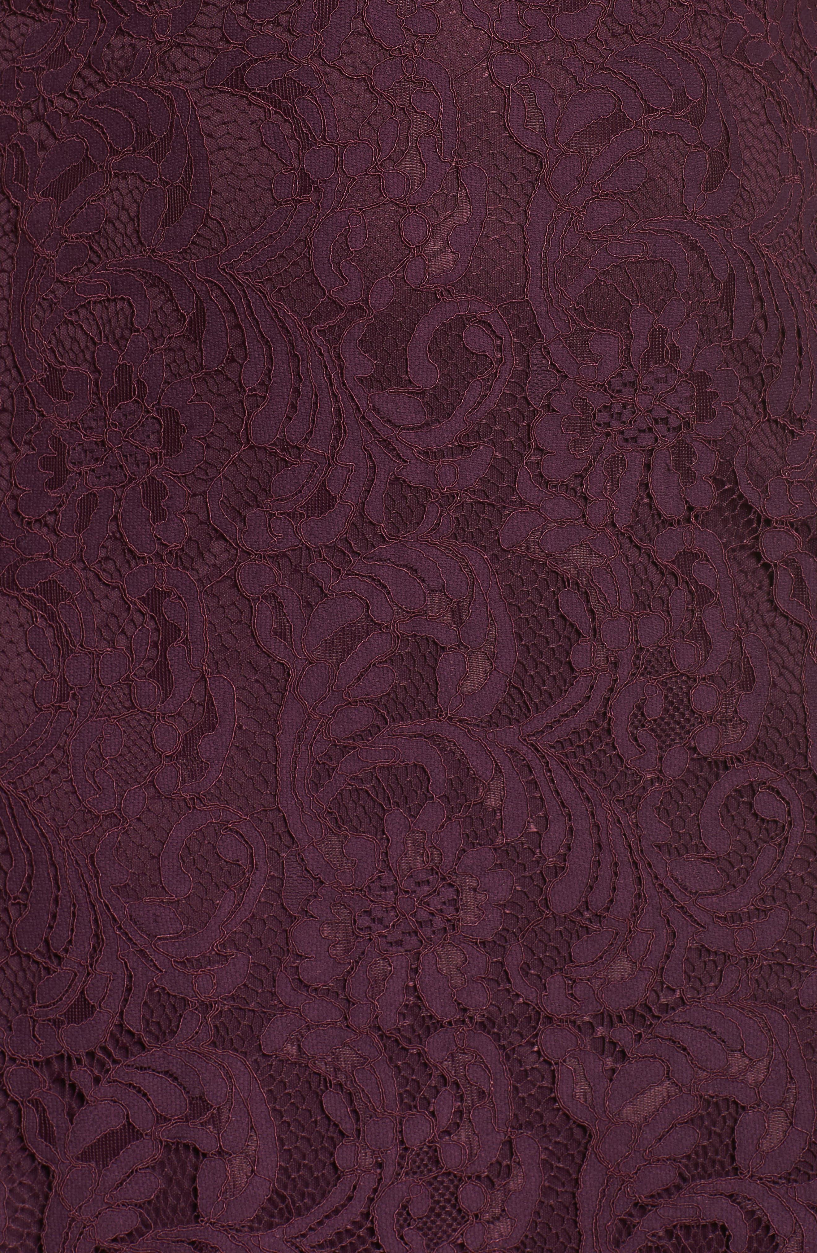 Lace Fit & Flare Dress,                             Alternate thumbnail 5, color,                             Burgundy