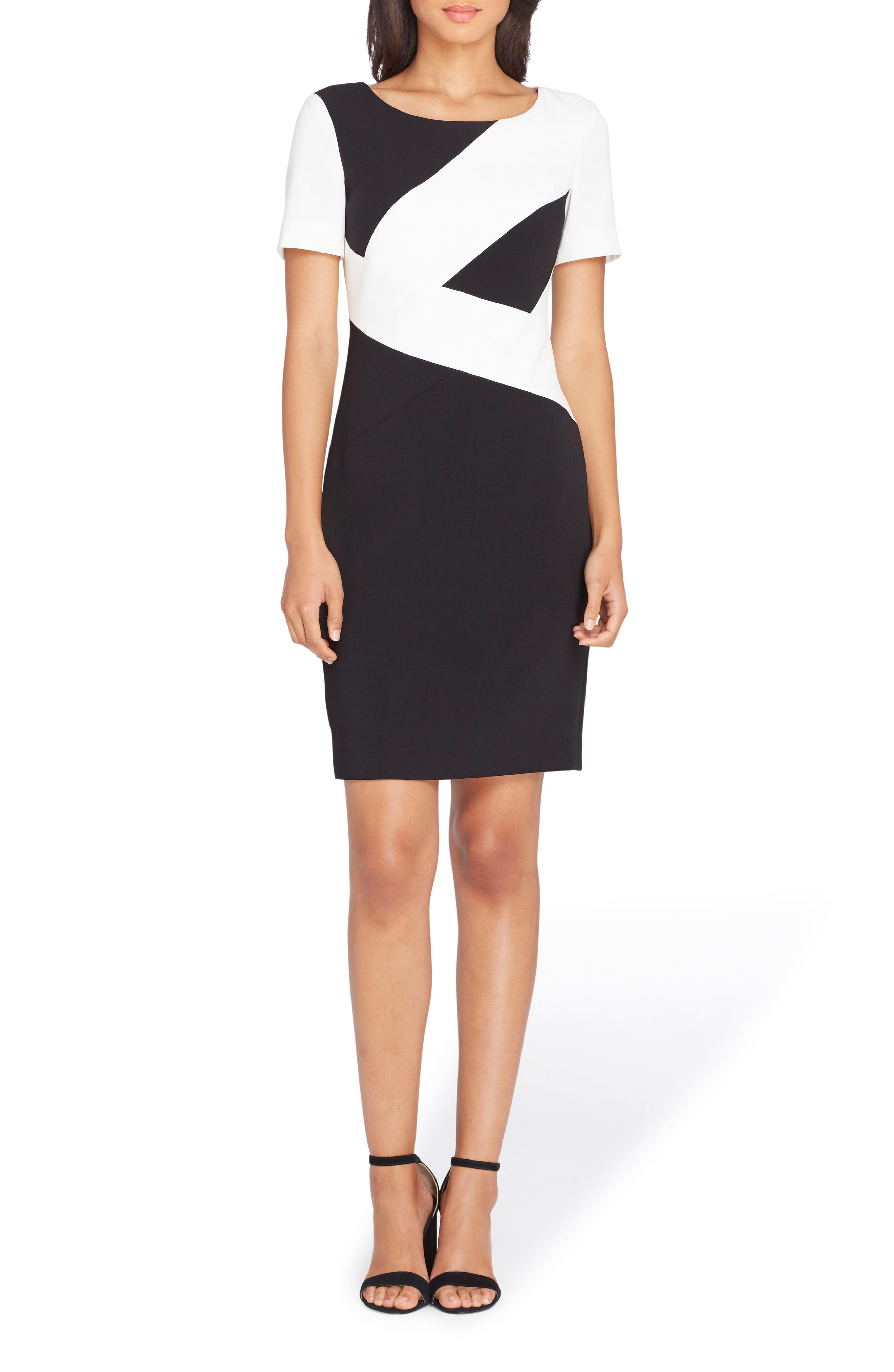 Colorblock Sheath Dress,                         Main,                         color, Black/ Ivory