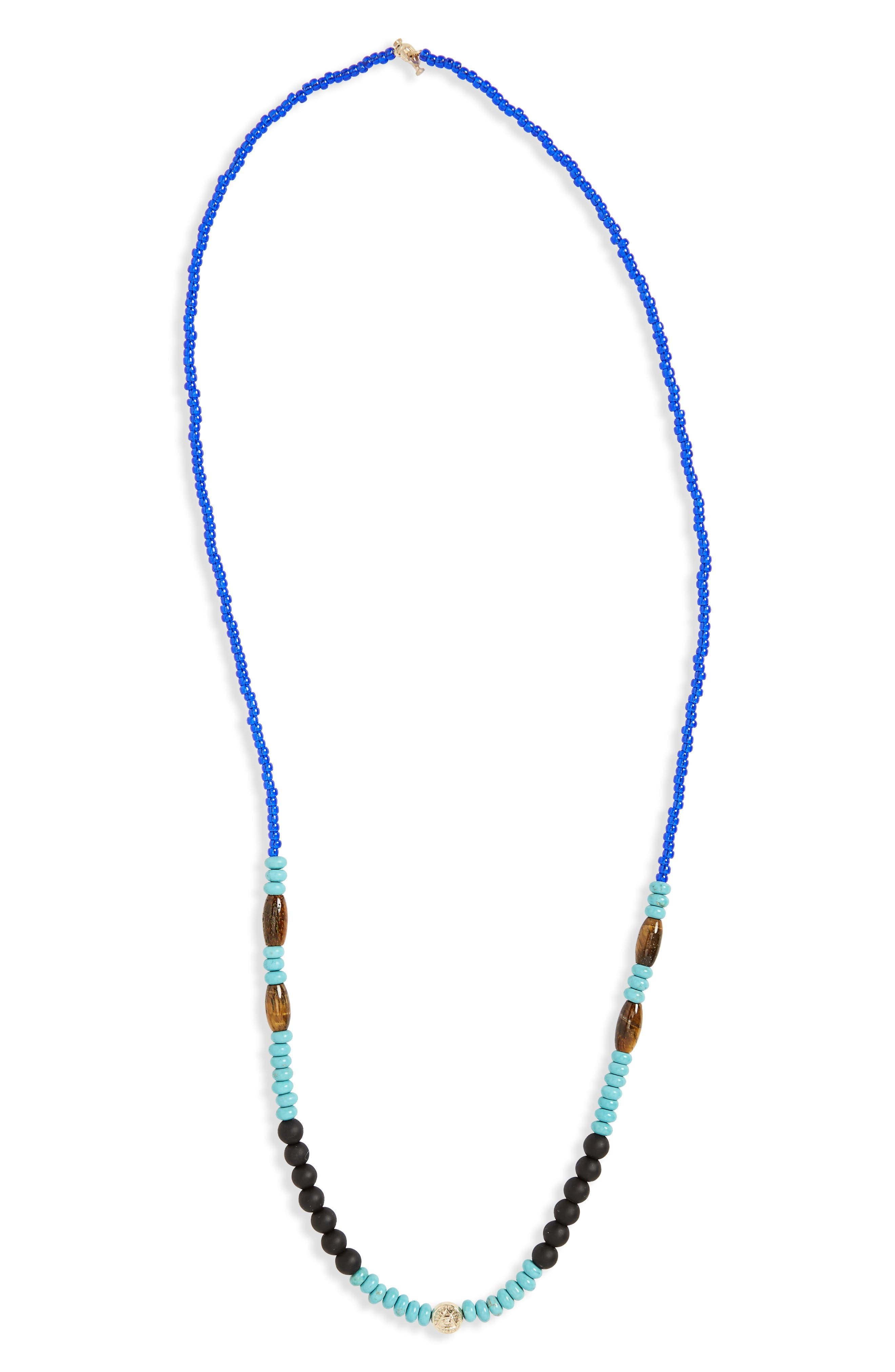 Bead Necklace,                         Main,                         color, Turquoise/ Blue