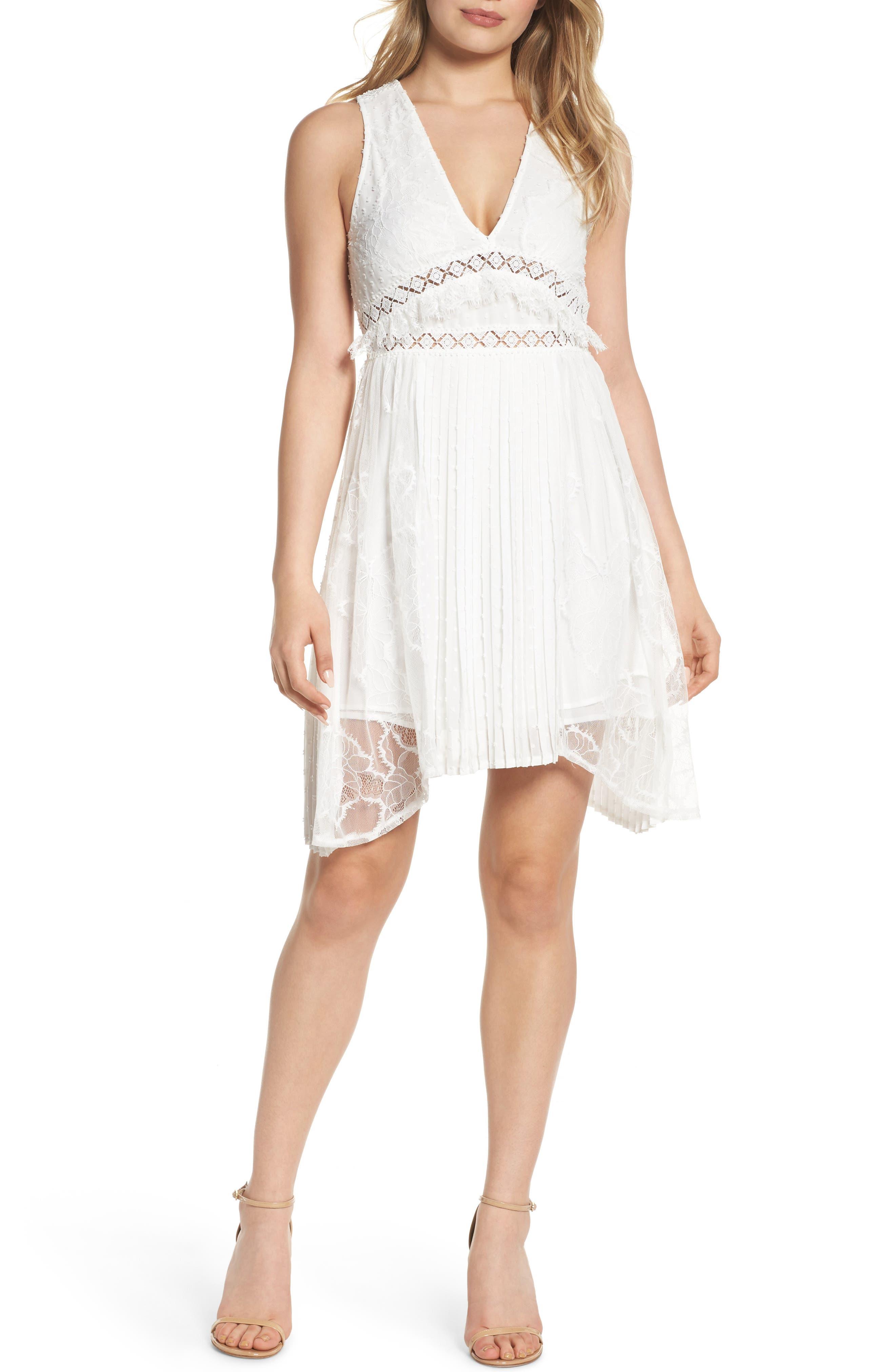 Babette Lace Inset Party Dress,                         Main,                         color, White