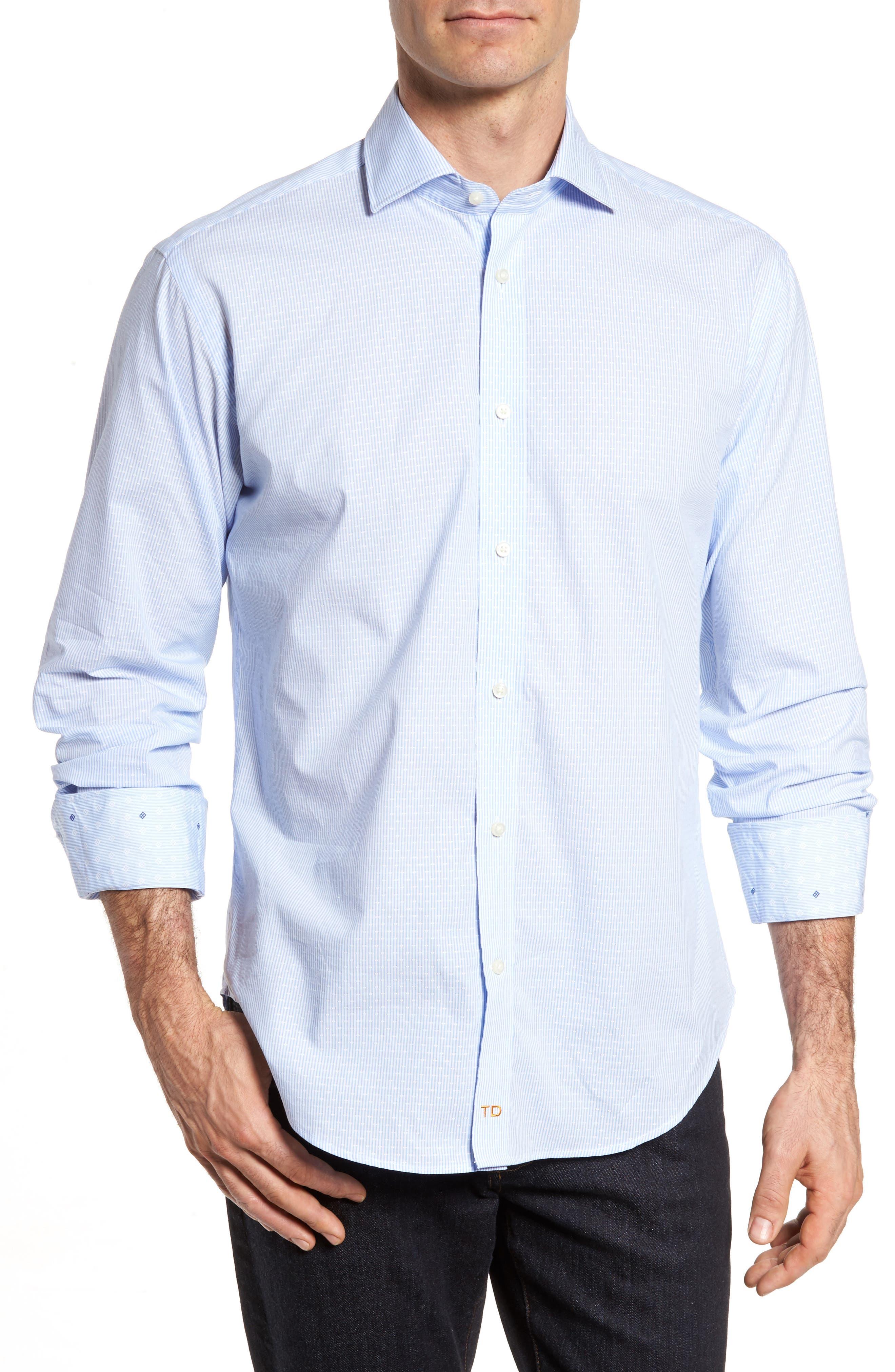 Regular Fit Stripe Sport Shirt,                         Main,                         color, Blue
