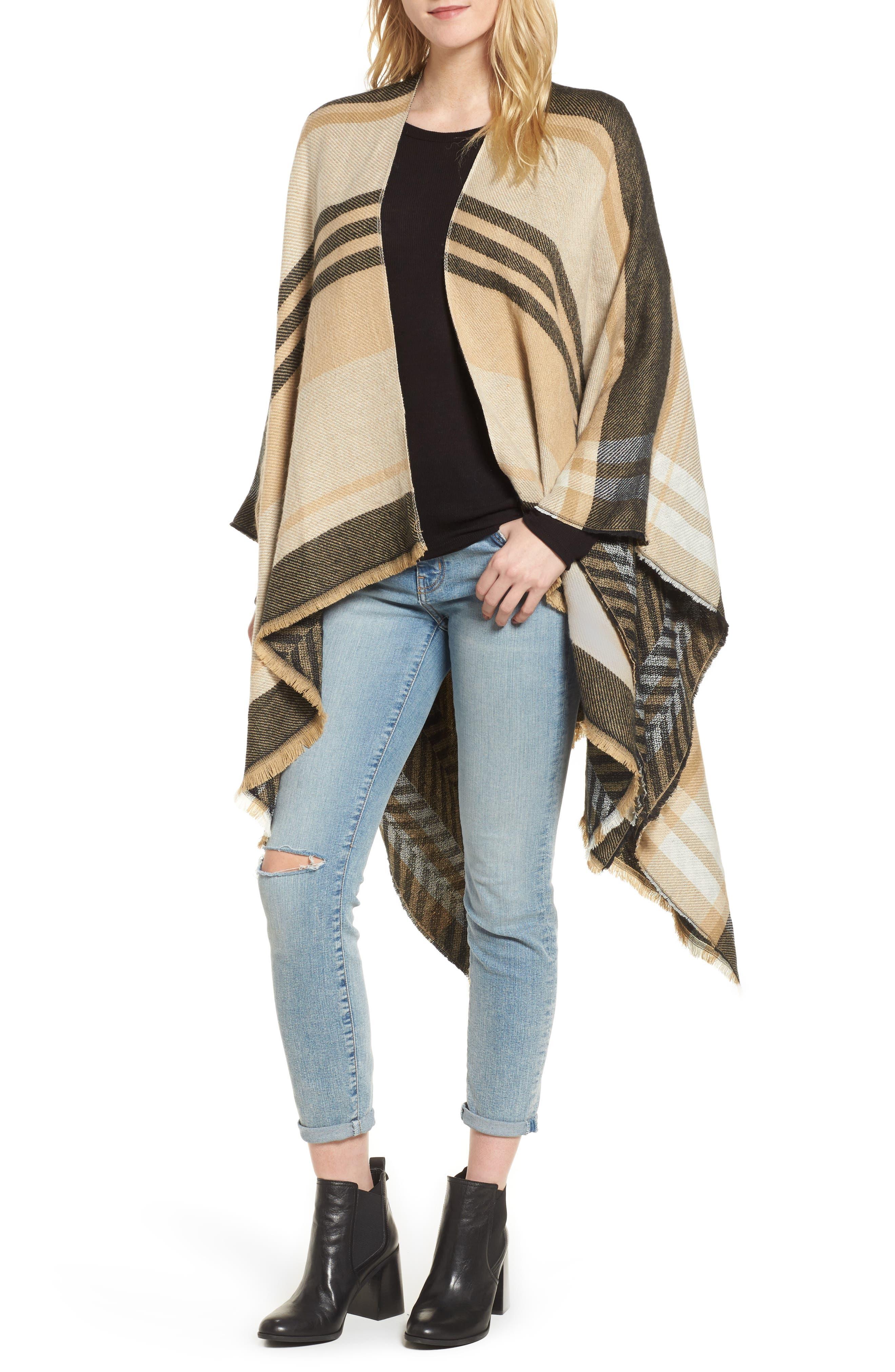 Stripe Woven Cape,                             Main thumbnail 1, color,                             Tan Multi