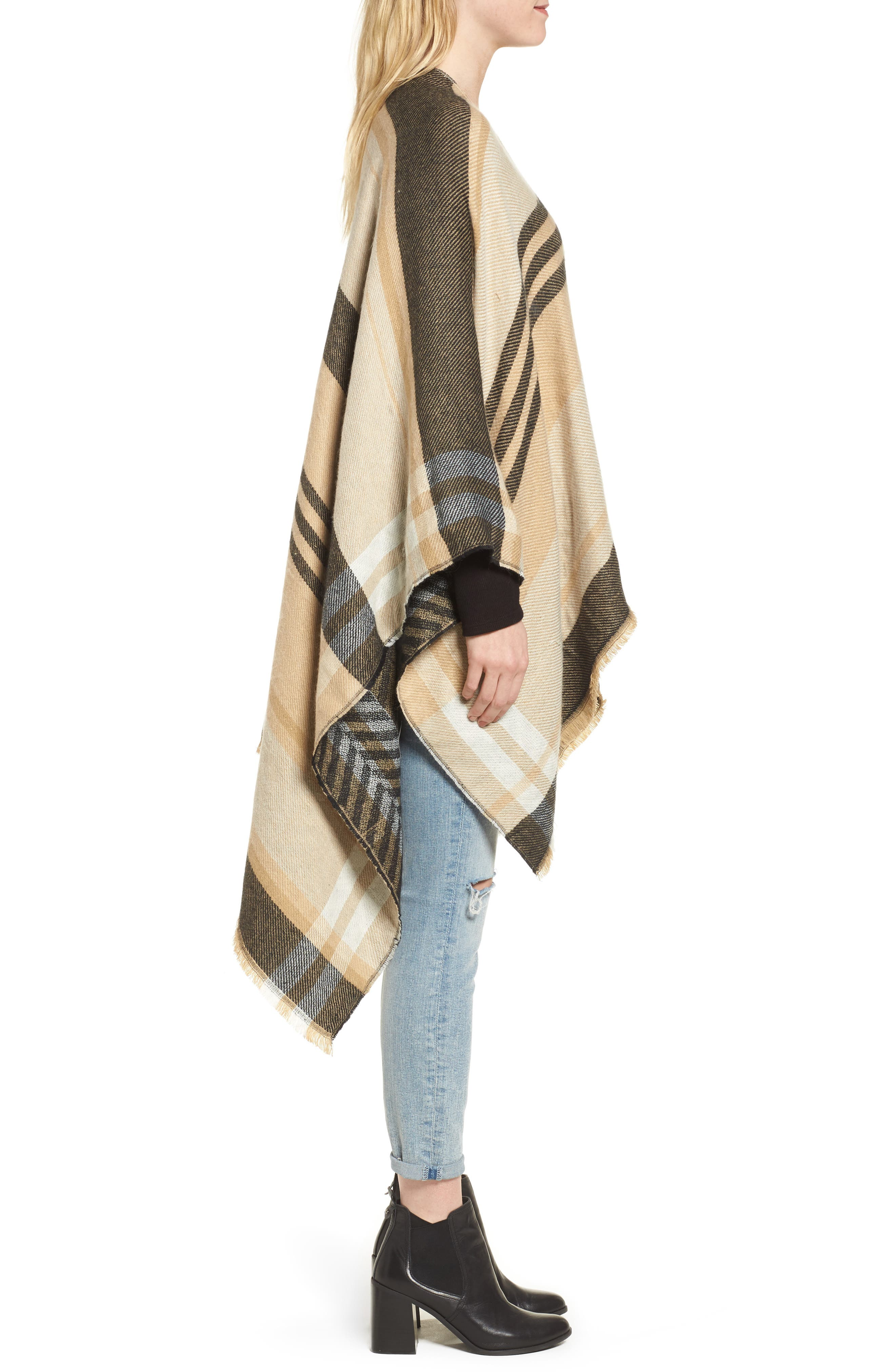Stripe Woven Cape,                             Alternate thumbnail 3, color,                             Tan Multi