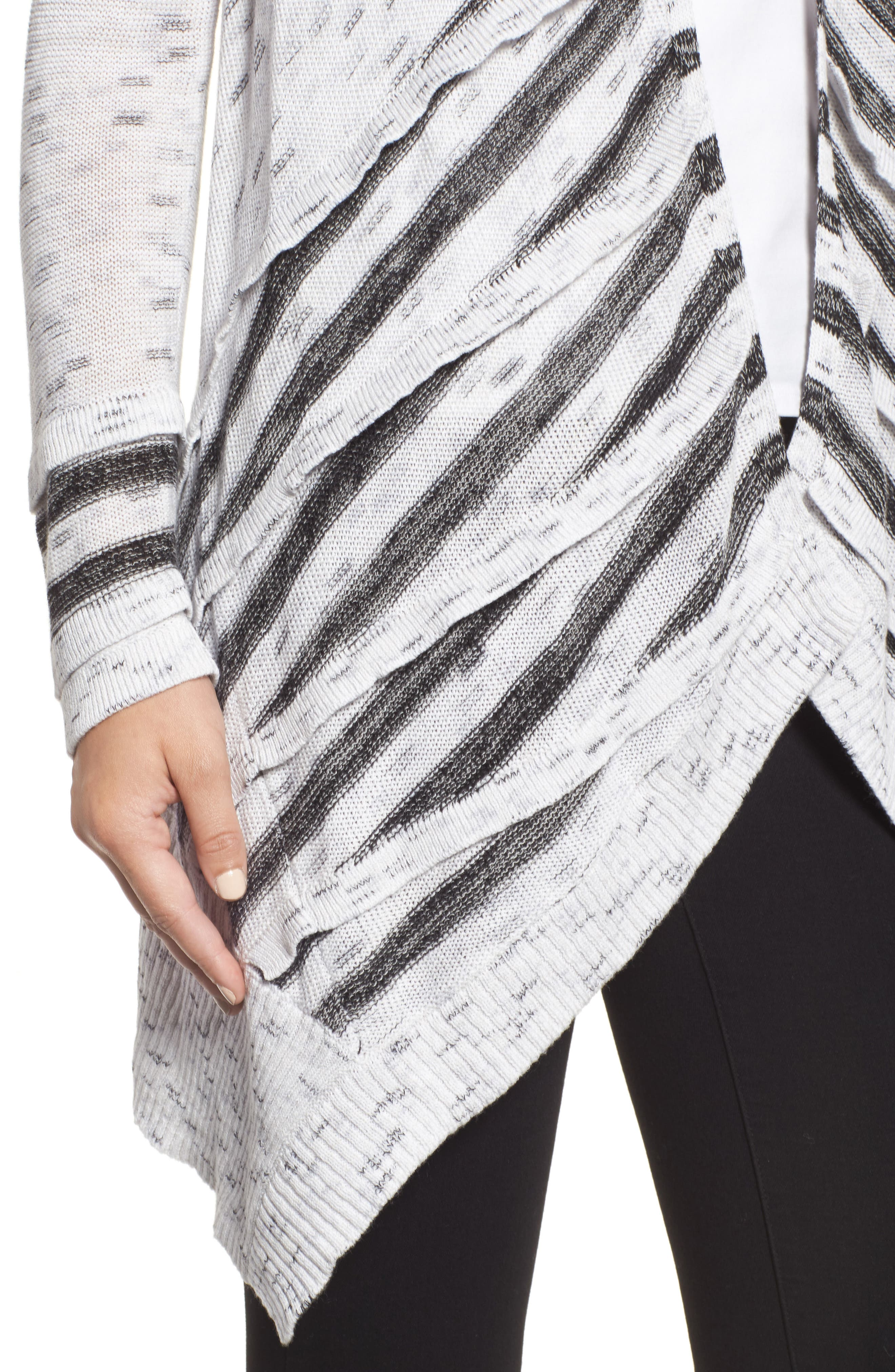 Dash Tiered Front Cardigan,                             Alternate thumbnail 4, color,                             Grey Multi