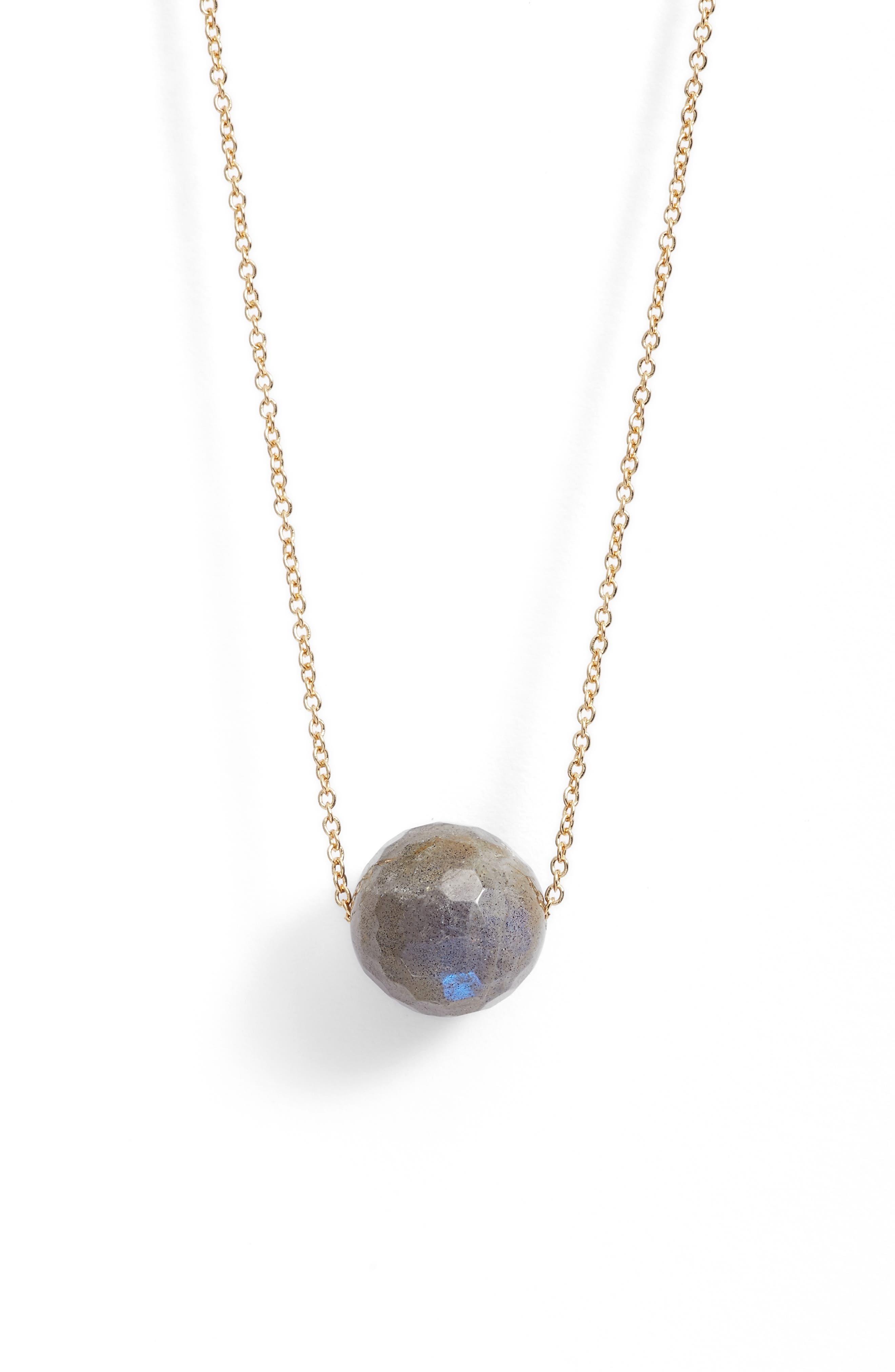 Power Gemstone Bead Adjustable Necklace,                         Main,                         color, Labradorite/ Gold