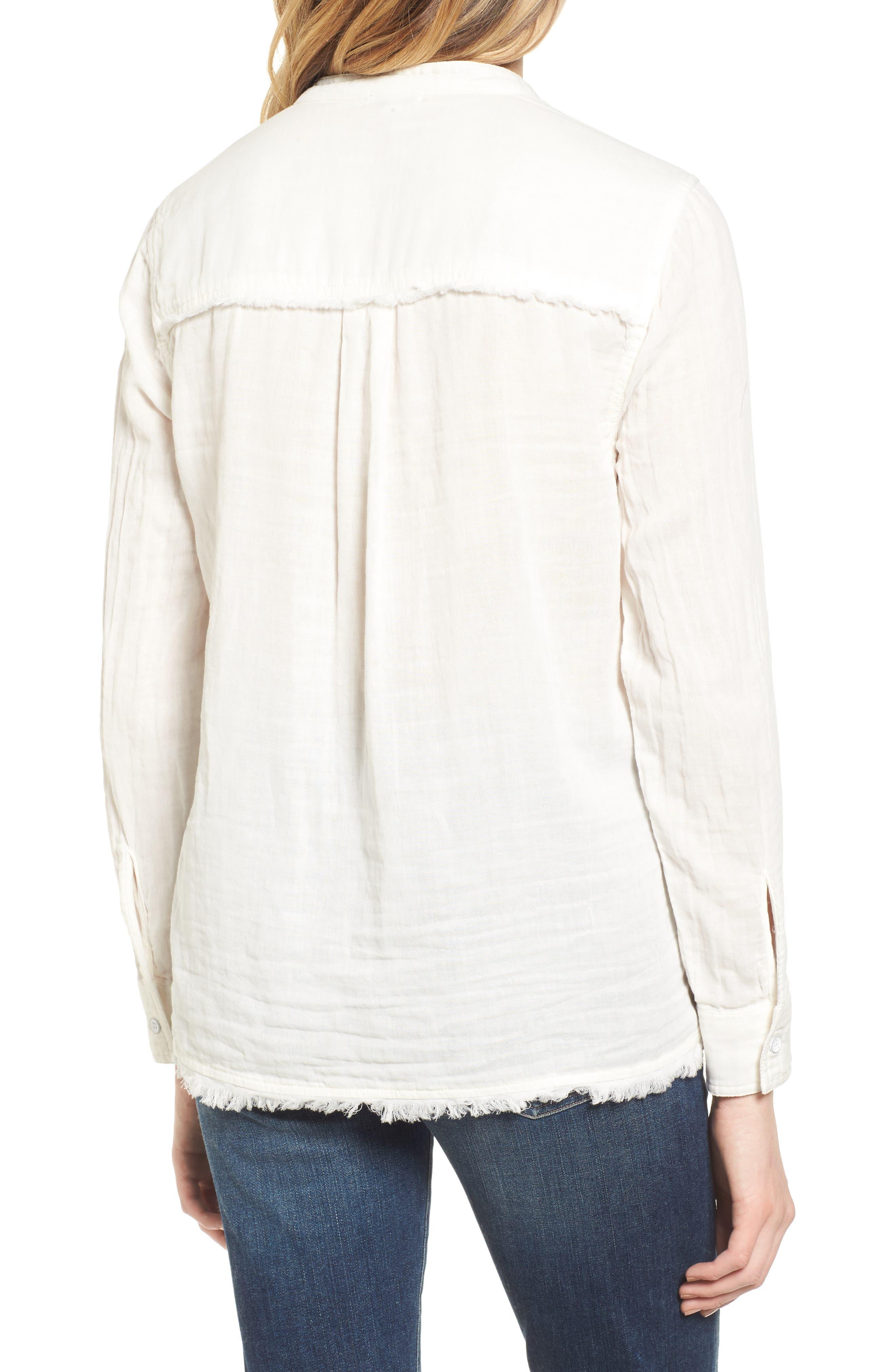 Button Front Shirt,                             Alternate thumbnail 2, color,                             Off White