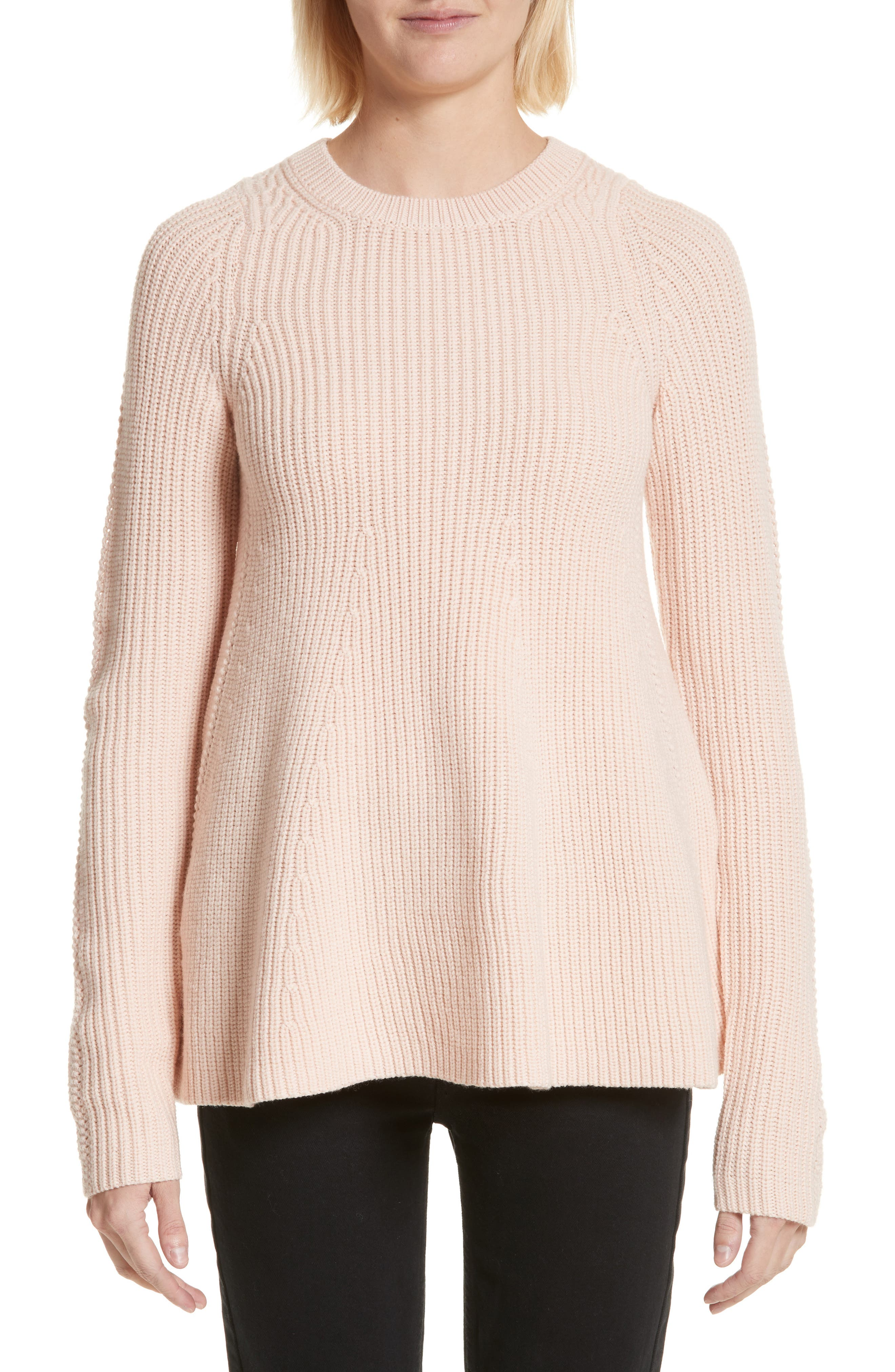 Wool Trapeze Sweater,                         Main,                         color, Pale Rose