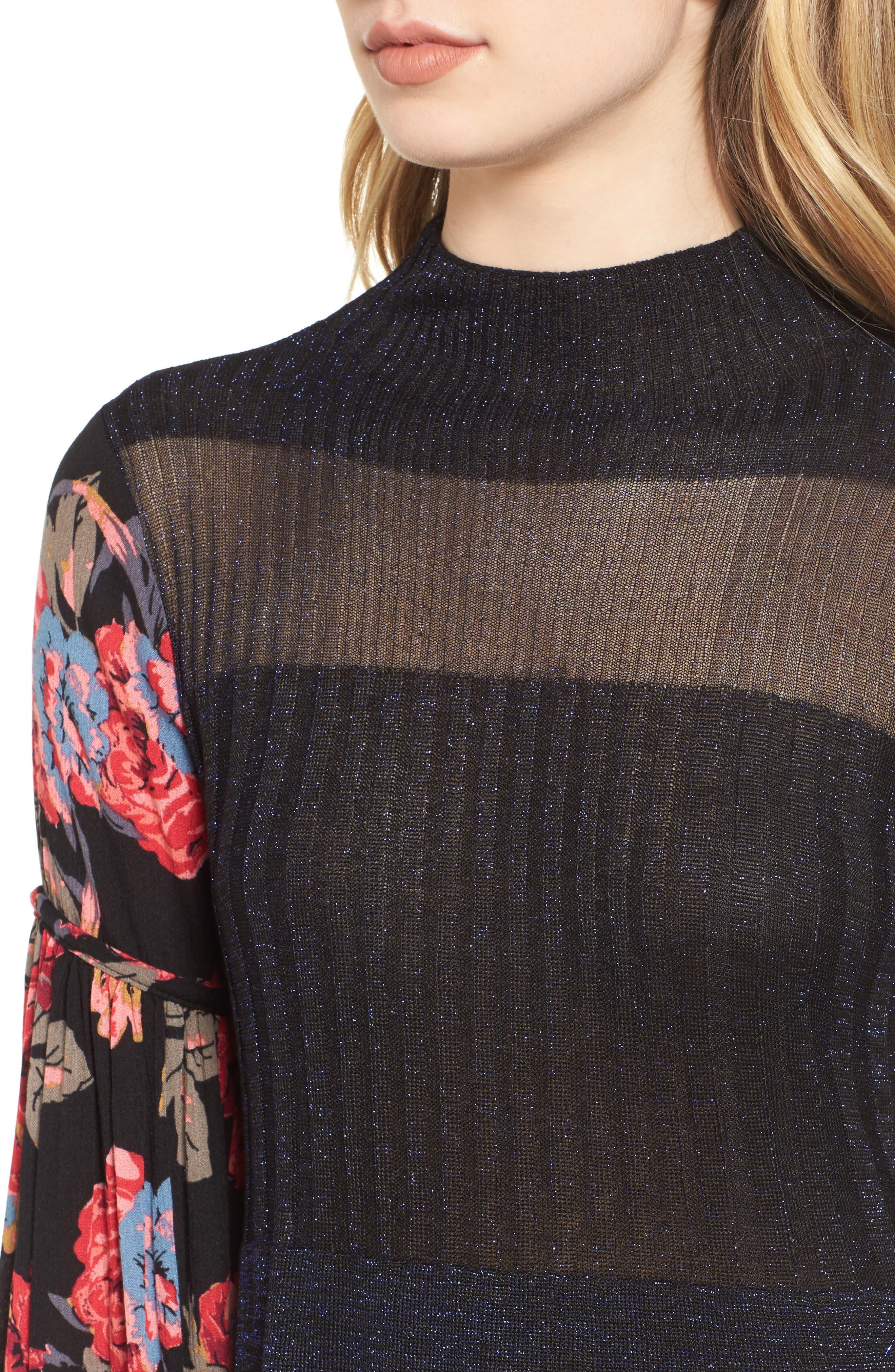 Rose & Shine Sweater Dress,                             Alternate thumbnail 4, color,                             Black Combo